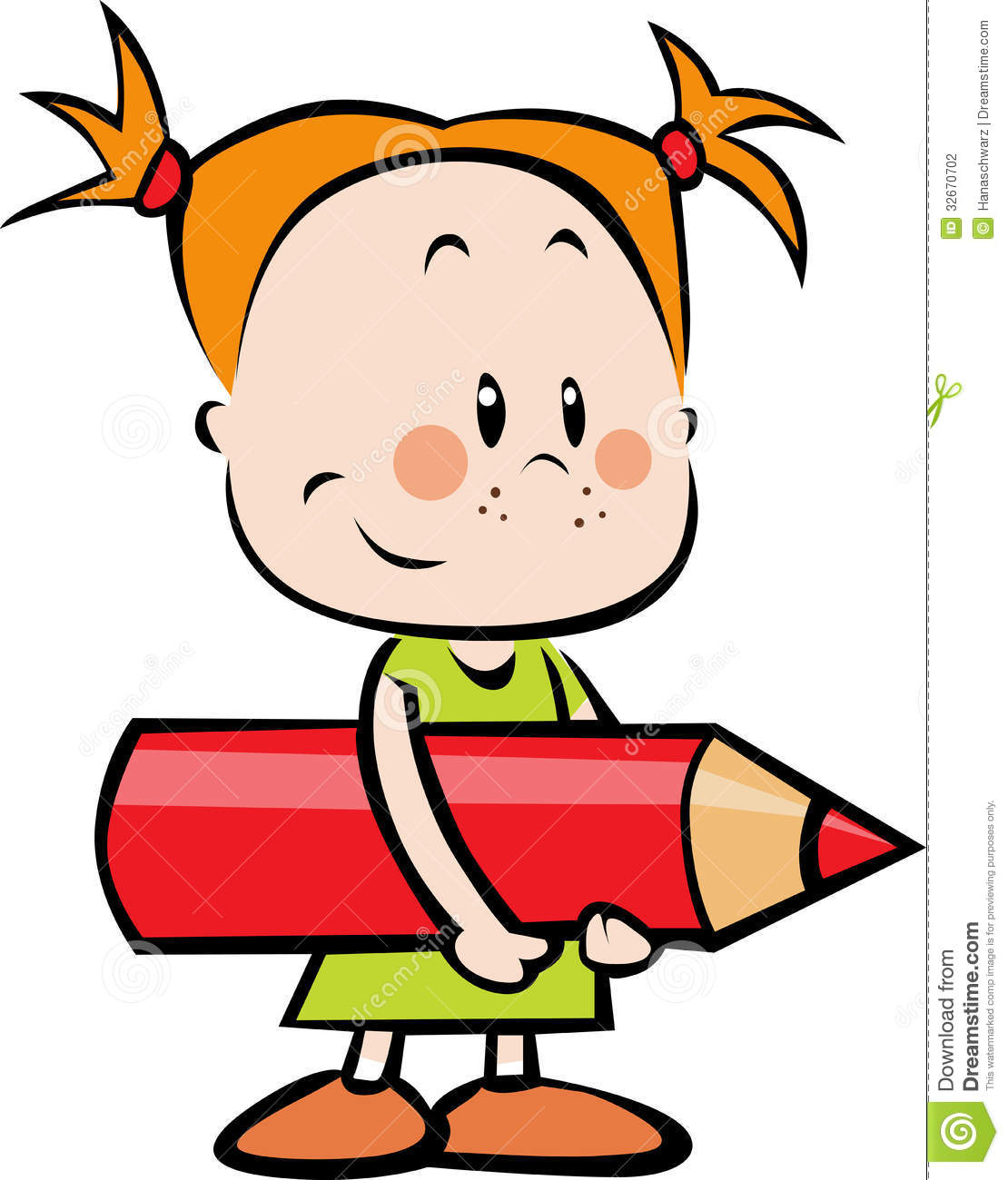 Illustration Of Child With Pencil - Little Girl Ho Stock Photography ... Happy Child Clipart