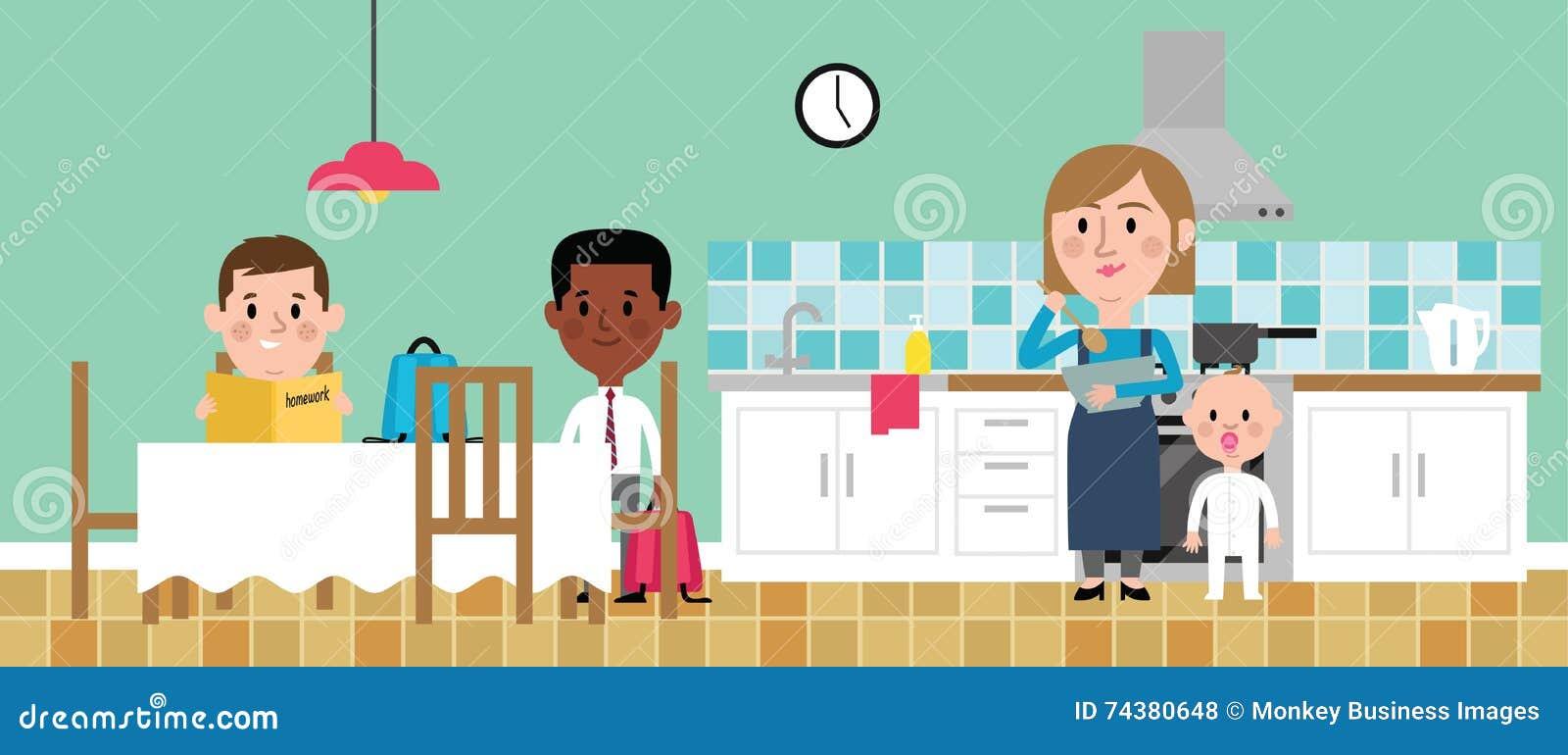 Illustration Of Children Doing Homework In Kitchen Stock Vector ...