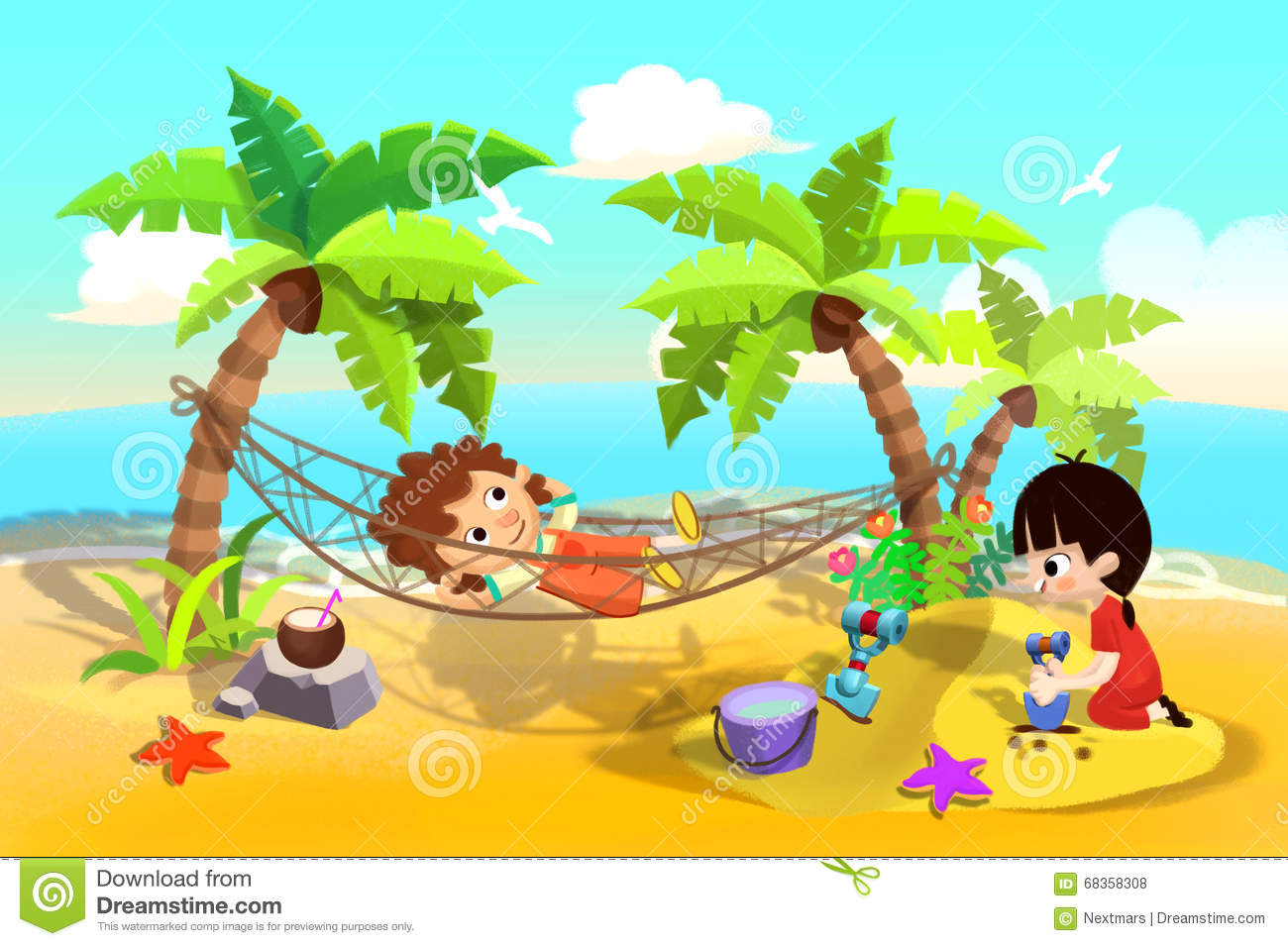 Illustration For Children Kids Play At Sand Beach One Sleeping In The Hammock Playing Sands