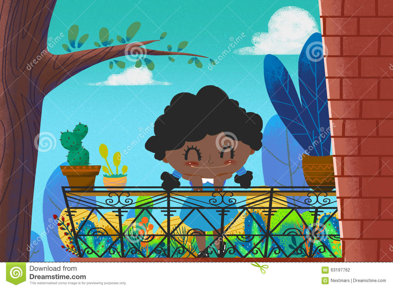 Illustration for children the little brown girl with for Balcony cartoon