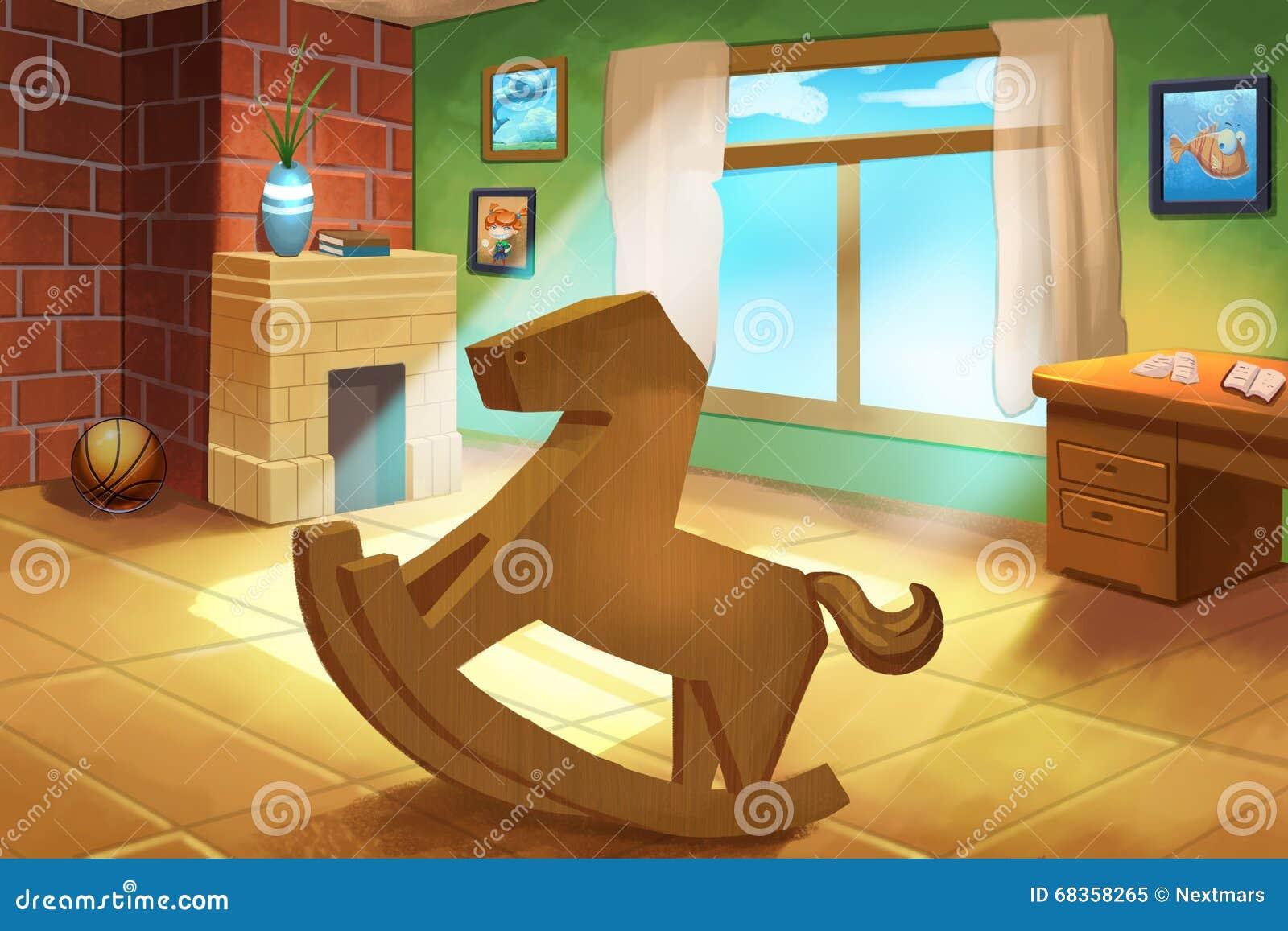 Illustration For Children Little Kids Room With A Wooden Horse Rocking Chair Stock Illustration Illustration Of Floor Fantastic 68358265