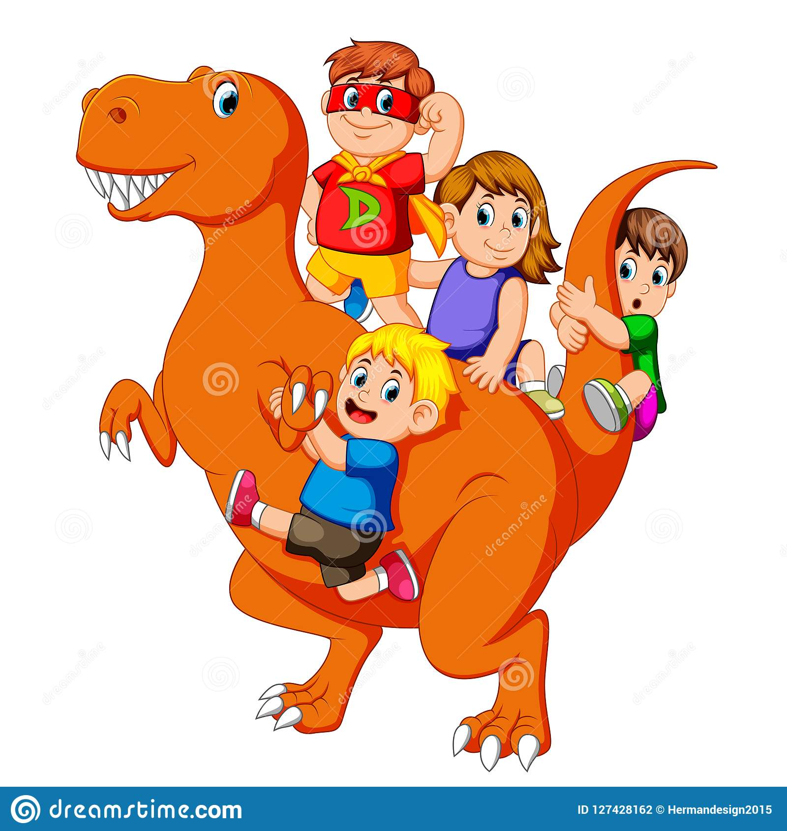 The children and some of them use the costume and they get into the Tyrannosaurus Rex`s body and then some of them holding his tai