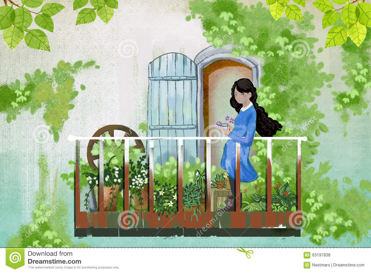 Illustration for children the young girl stays in her for Balcony cartoon