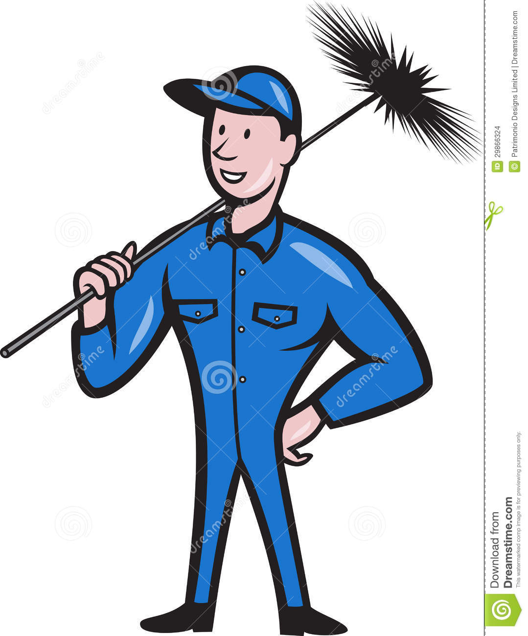 Chimney Sweeper Cleaner Worker Cartoon Stock Images