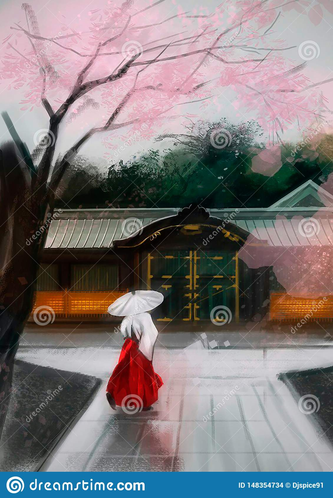 Illustration of a Chinese woman near the house