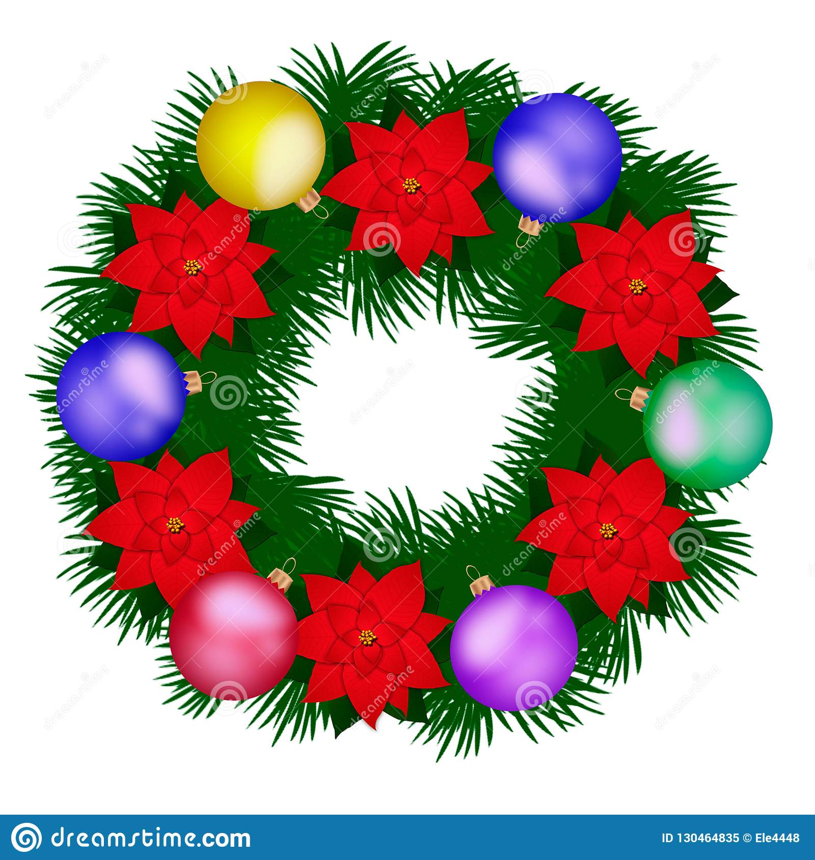 Christmas Flower Decorations.Illustration With Christmas Decorations And Christmas Flower
