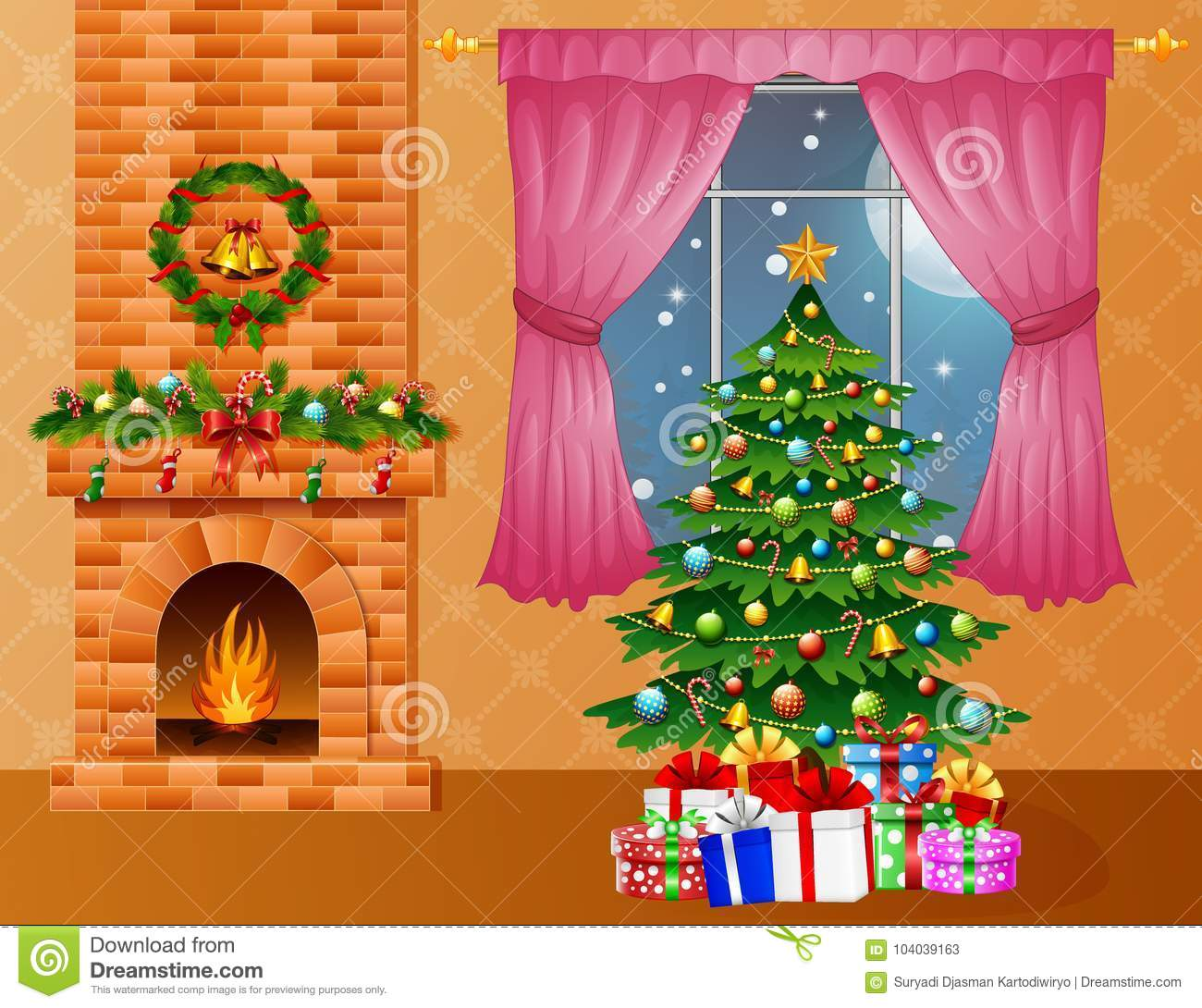 Picture Of Christmas Tree With Presents: Christmas Room Interior With Fireplace, Xmas Tree And