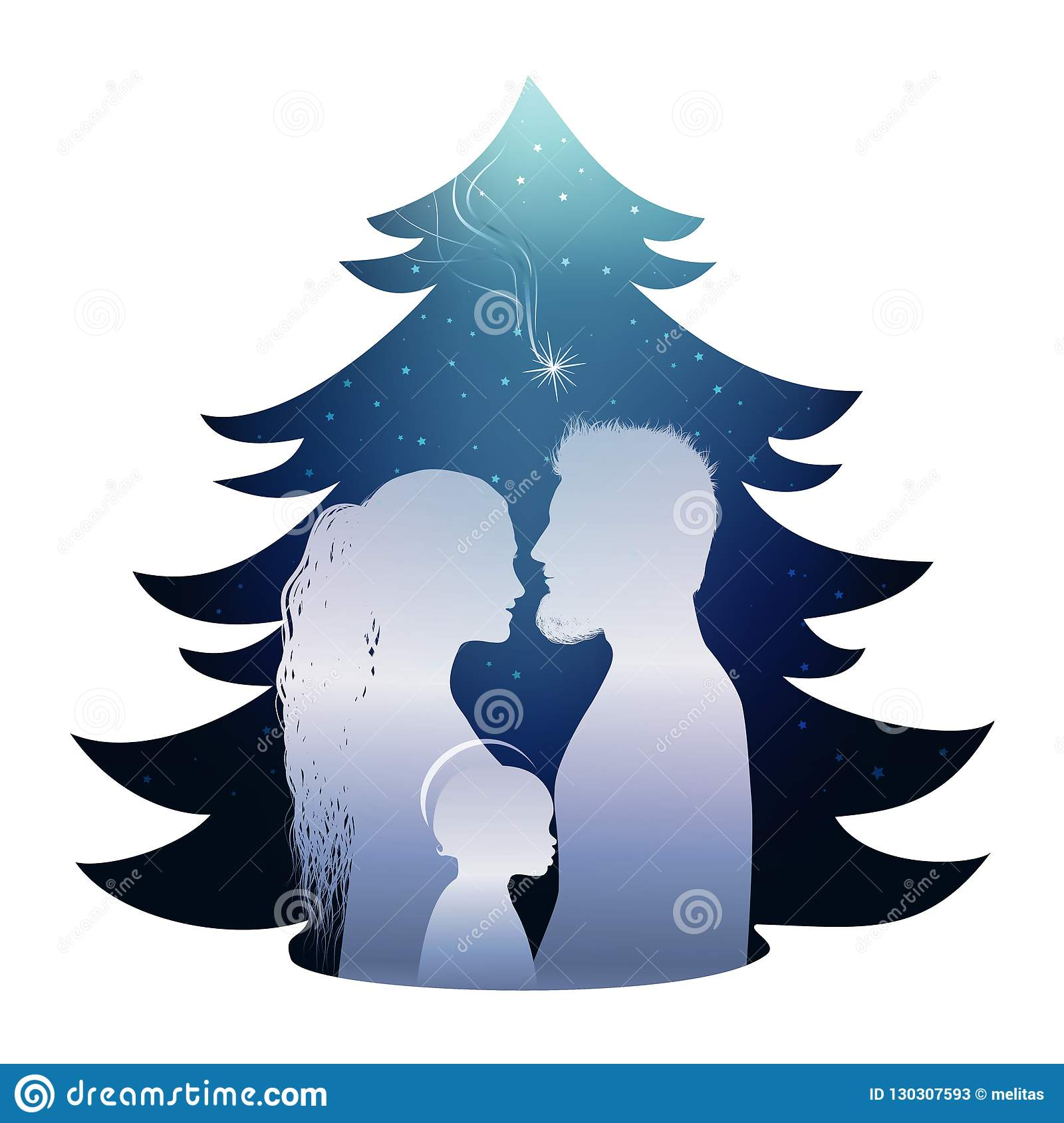 Isolated Christmas tree nativity scene with holy family. Silhouette profile on blue background