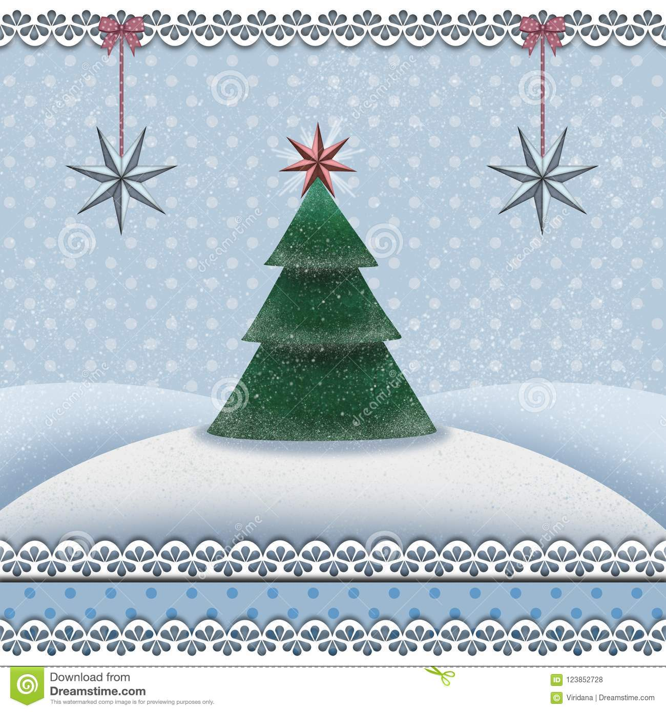 Christmas and new year card with a fir tree in a snowy landscape