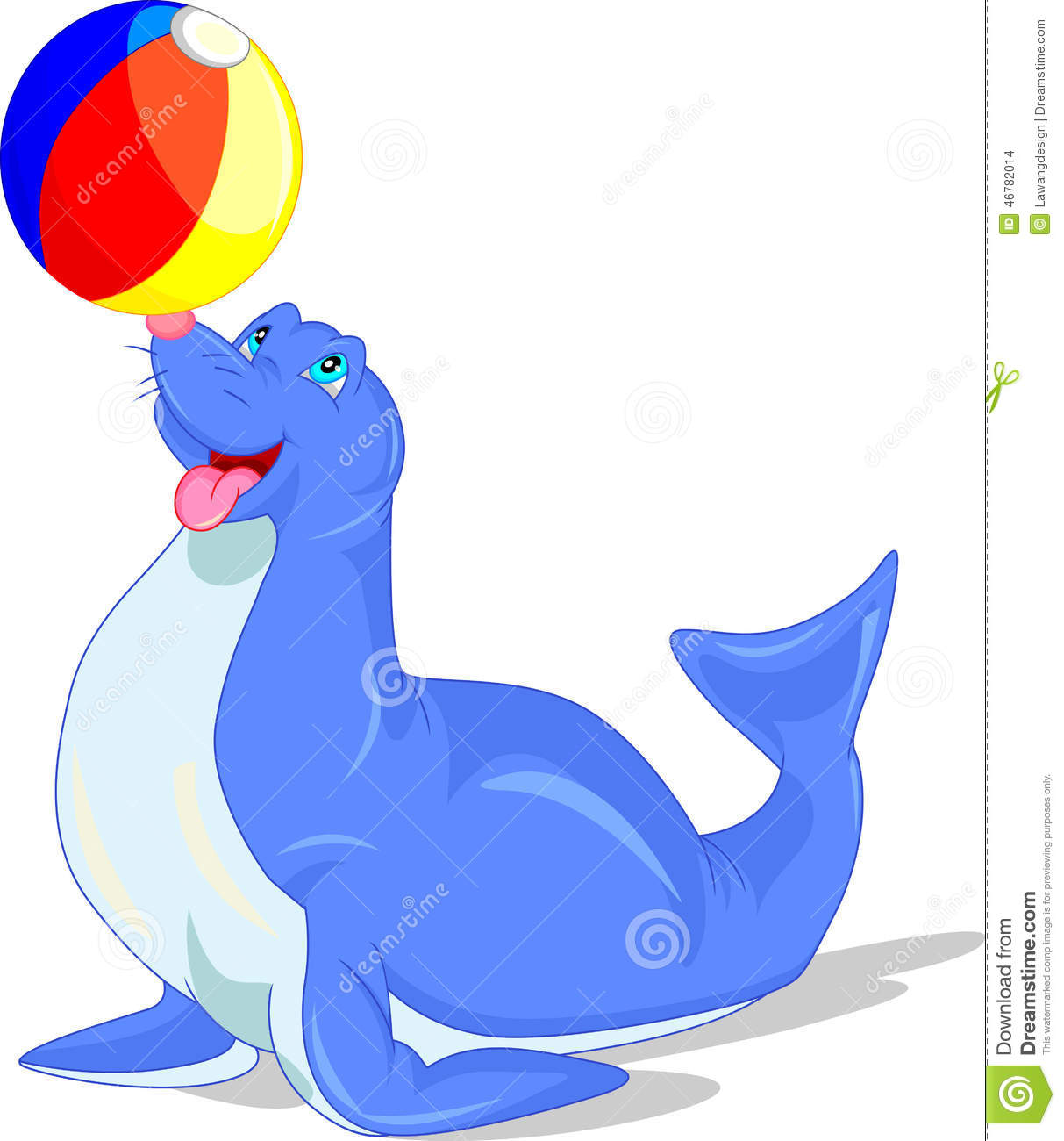 Illustration Of Circus Seal Playing A Ball Stock Vector