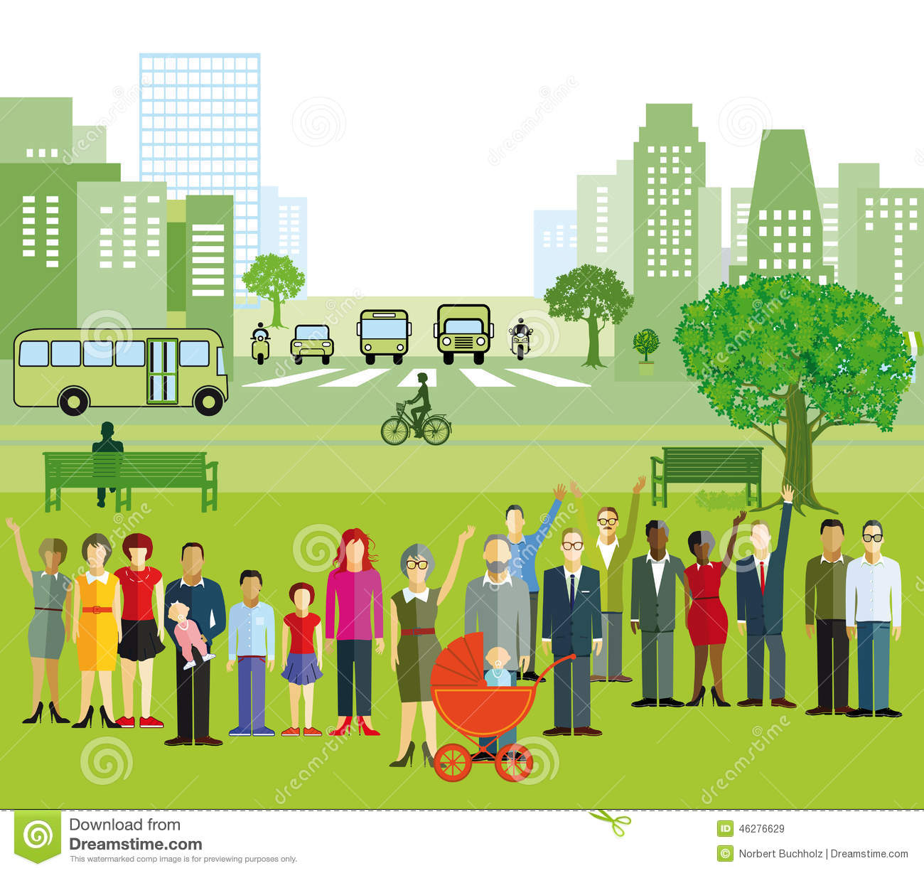 Illustration Of City And People Stock Photo - Image: 46276629