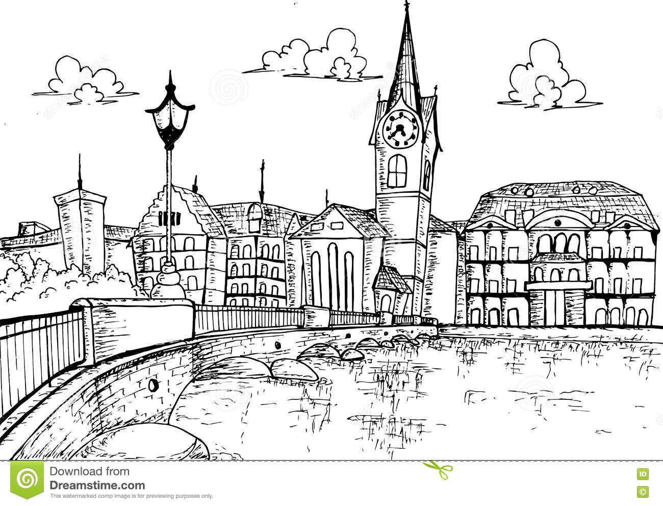 Illustration Cityscape Of Zurich Switzerland Hand Drawn Stock