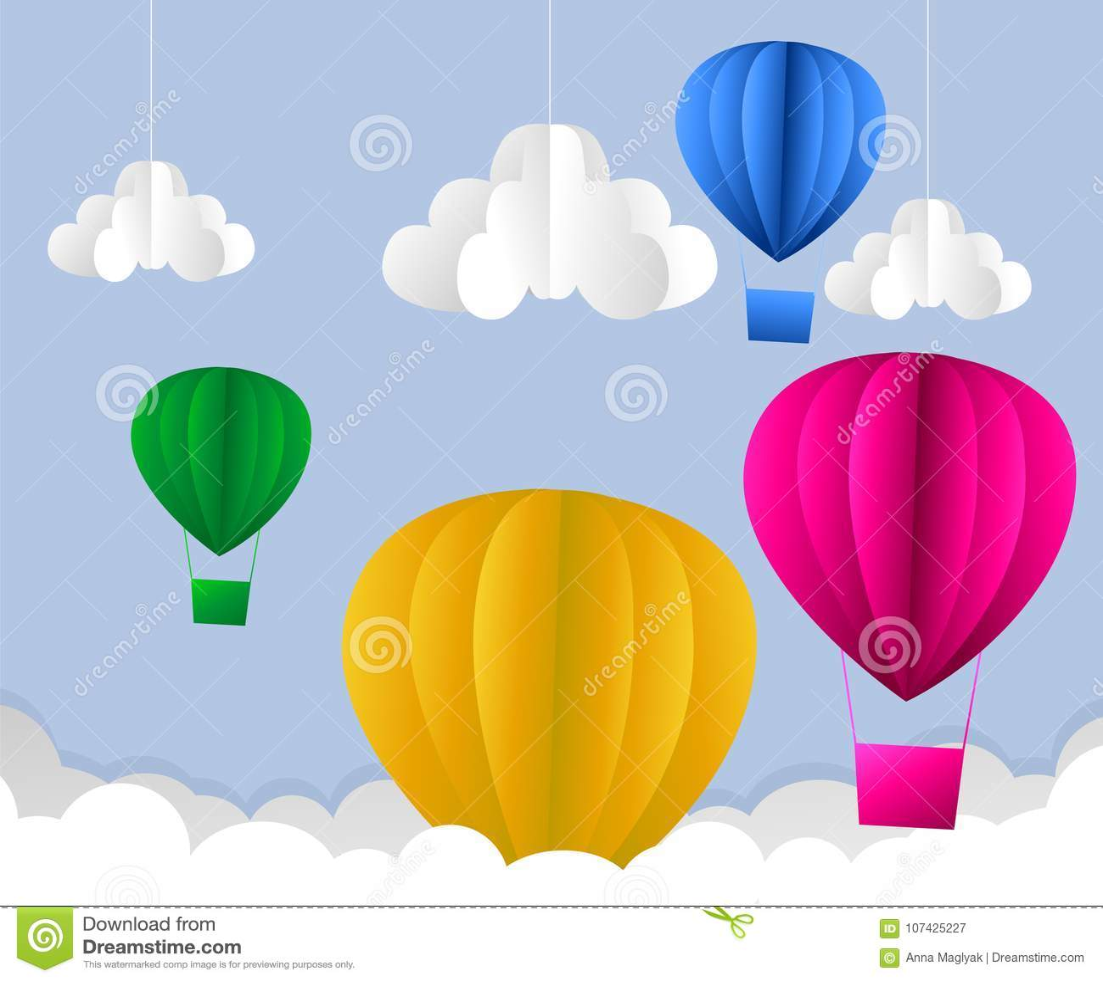 Illustration of clouds suns and hot air balloon origami flying on illustration of clouds suns and hot air balloon origami flying on the sky on the skyper art style jeuxipadfo Choice Image