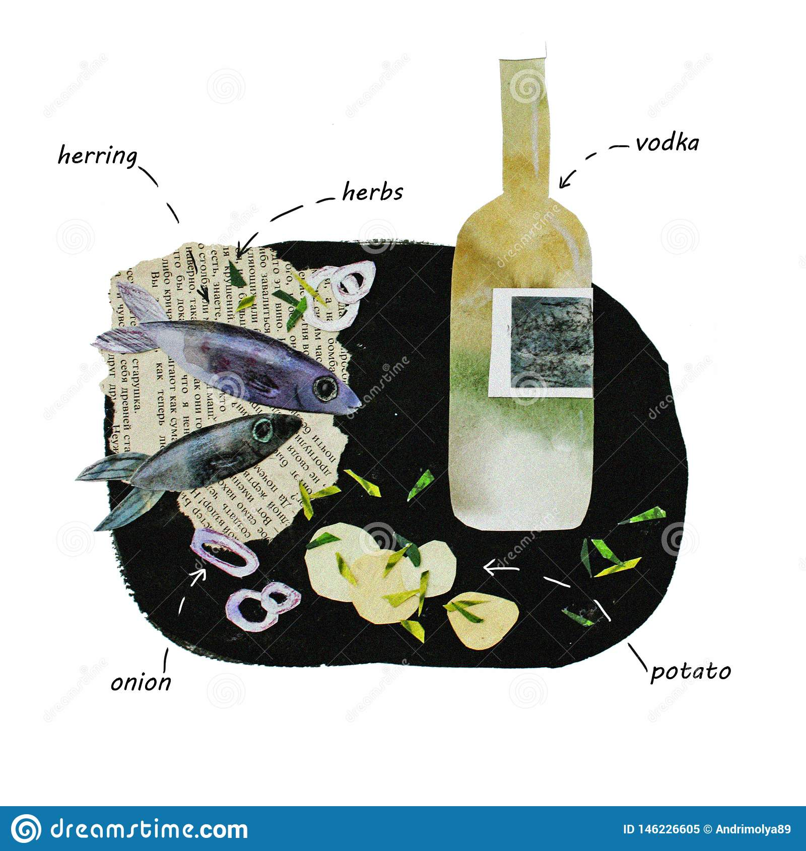 Illustration of collage vodka and herring