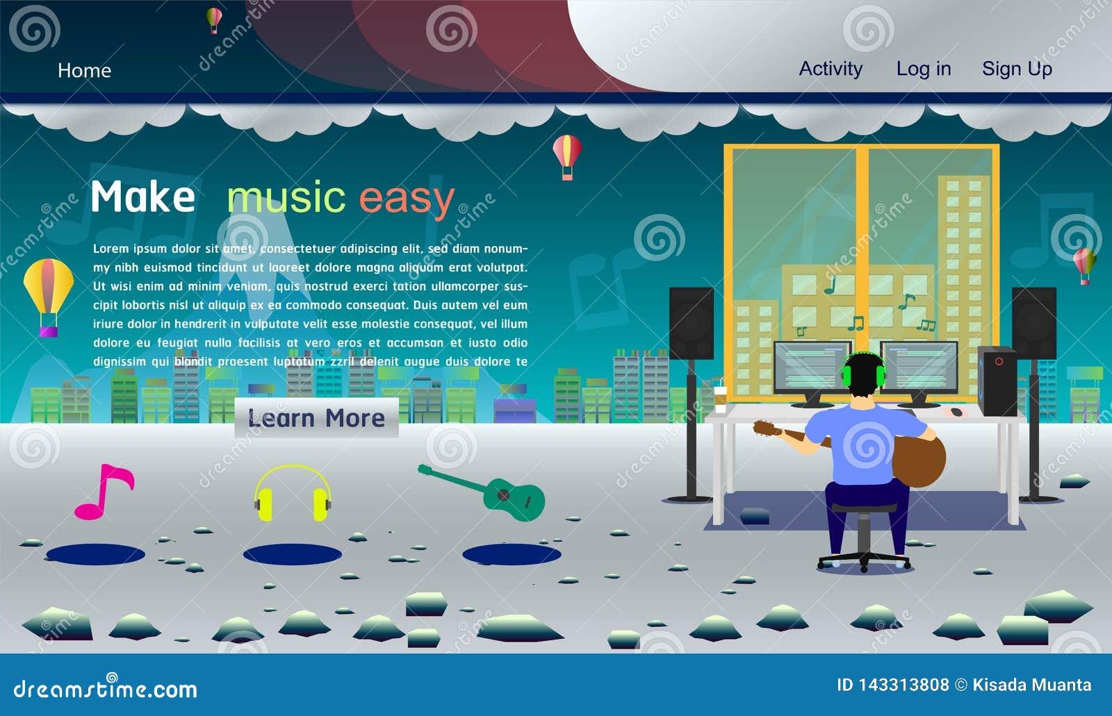 Illustration colorée argentée eps10 de vecteur de calibre de site Web de studio de musique