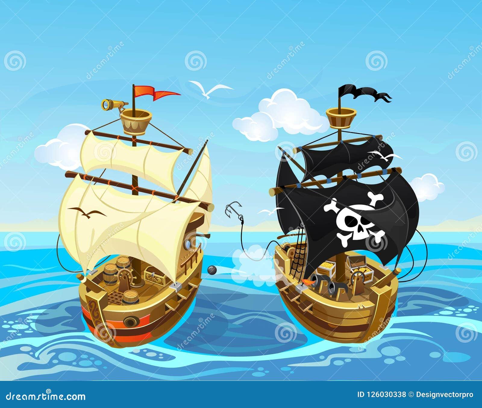 illustration-color%C3%A9e-avec-la-bataille-de-bateau-pirate-en-mer-vecteur-126030338.jpg