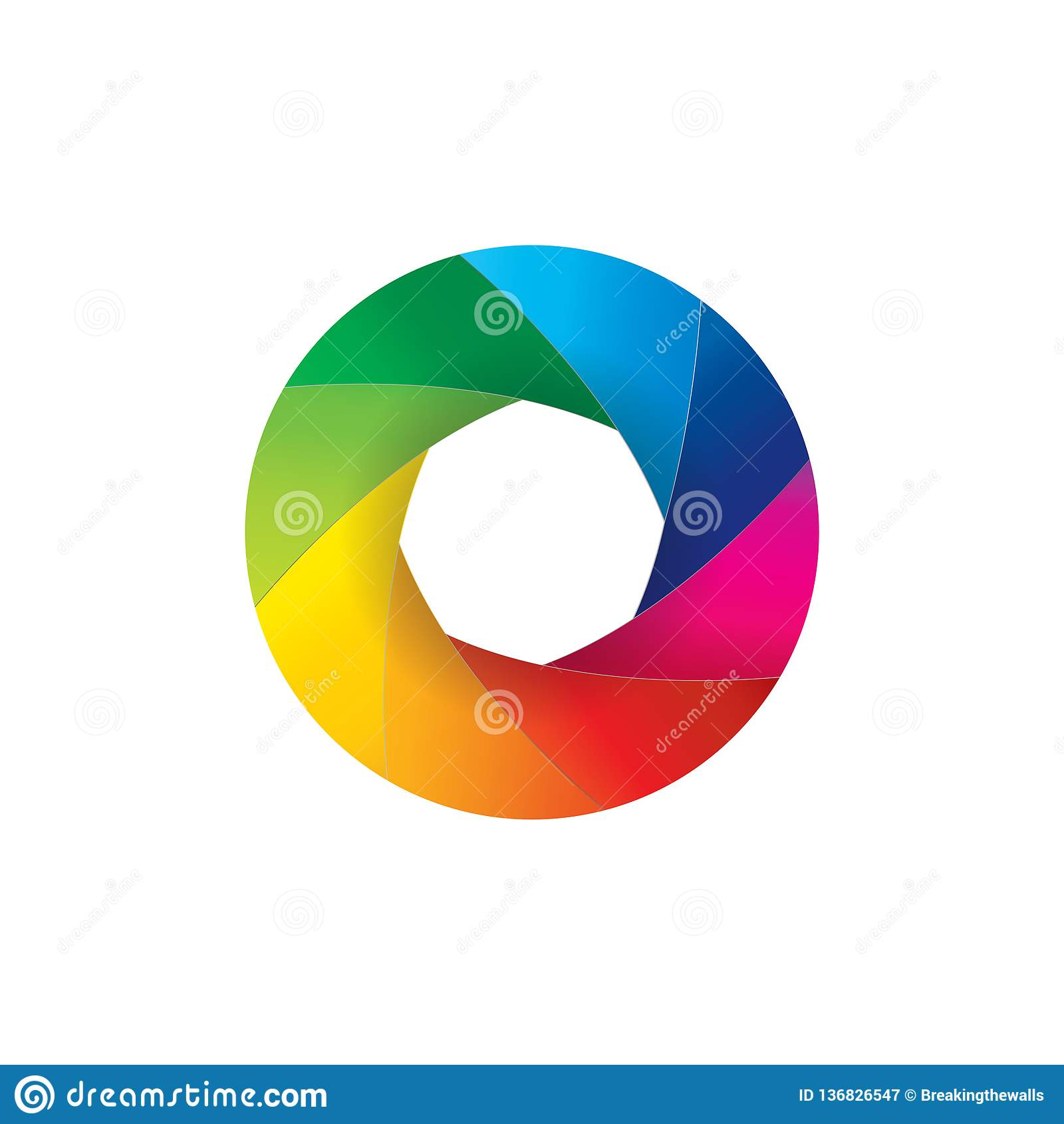 Illustration colorée d ouverture de volet d objectif de caméra