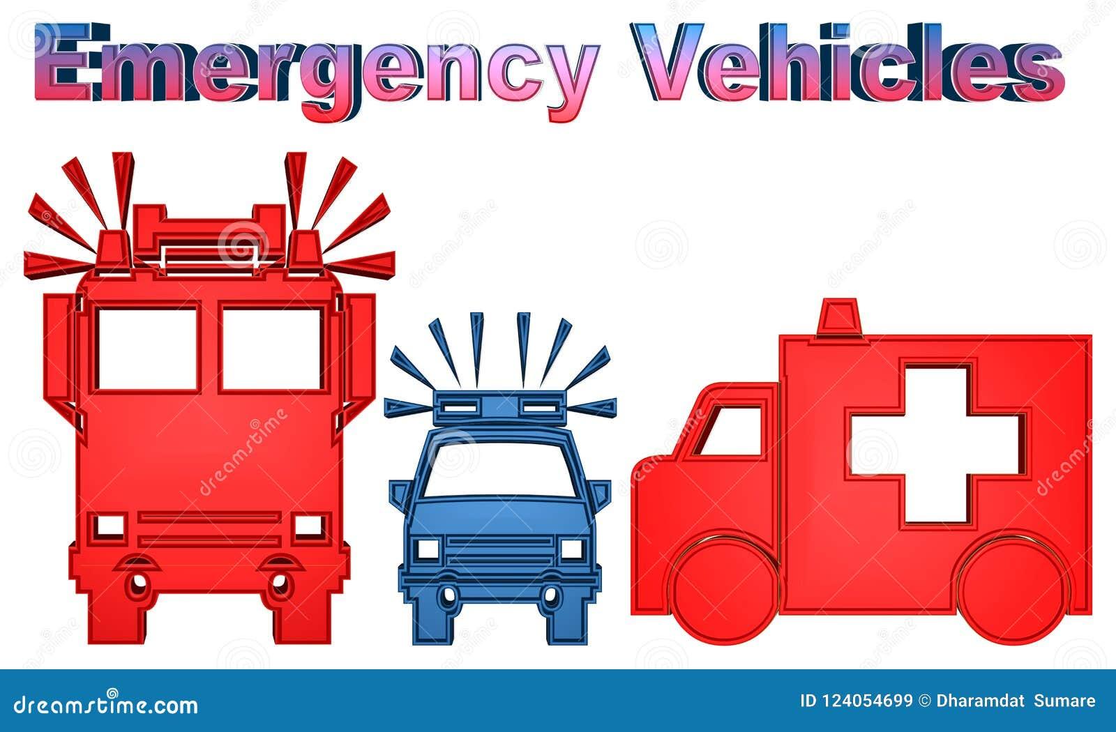 Illustration colorée de camion du véhicule-feu de secours, de voiture de police et d ambulance