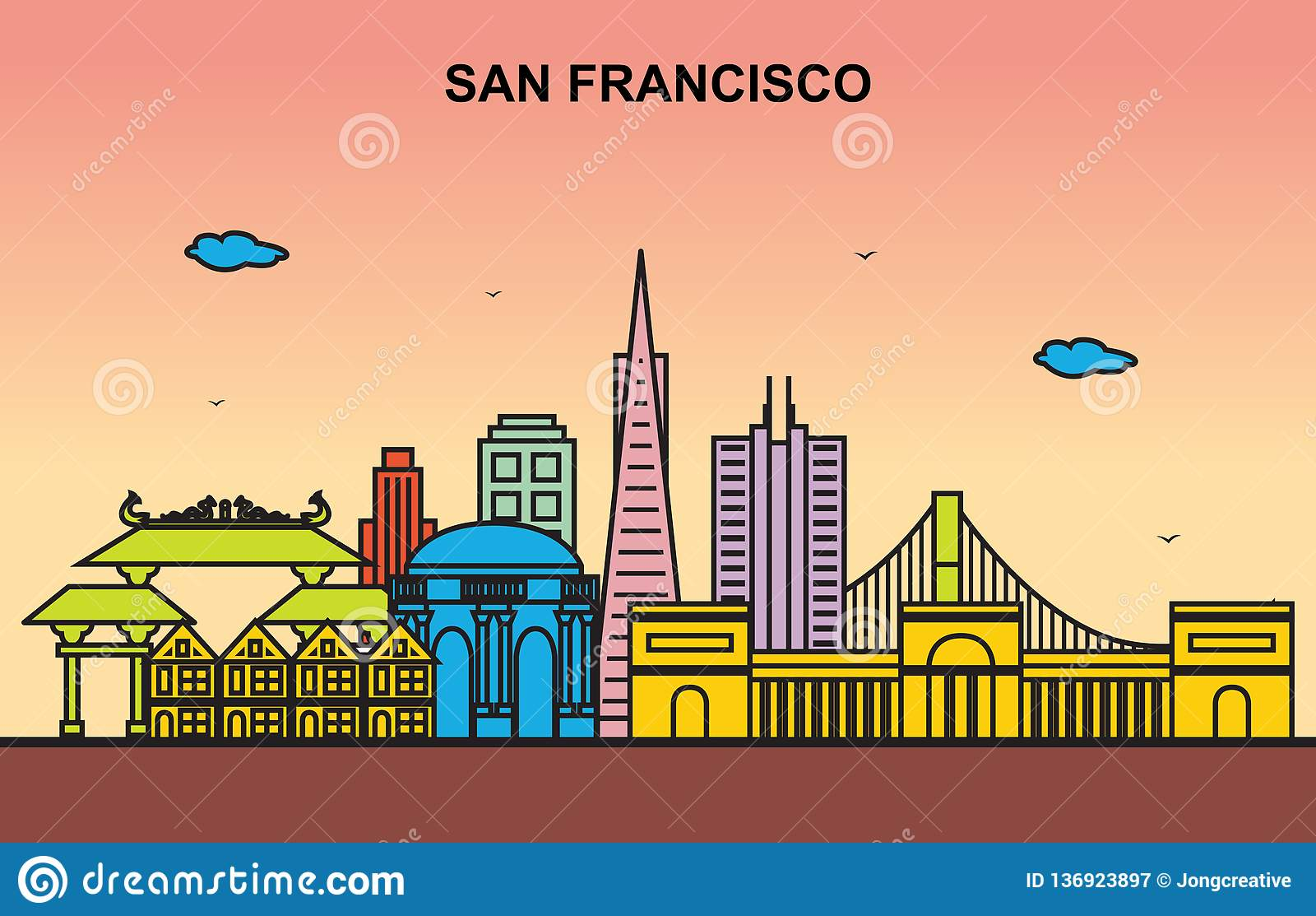 Illustration colorée de San Francisco City Tour Cityscape Skyline