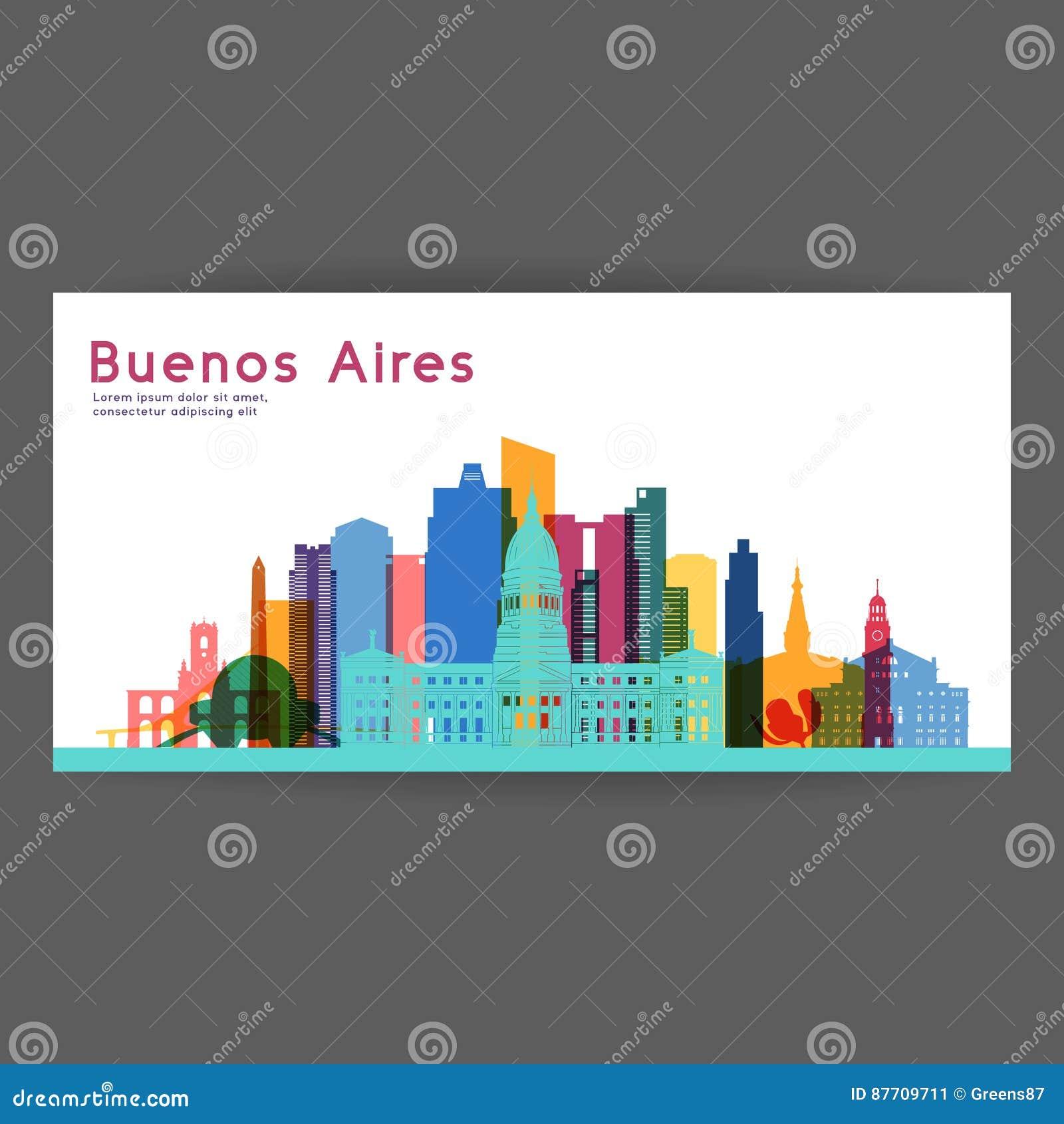 Illustration colorée de vecteur d architecture de Buenos Aires