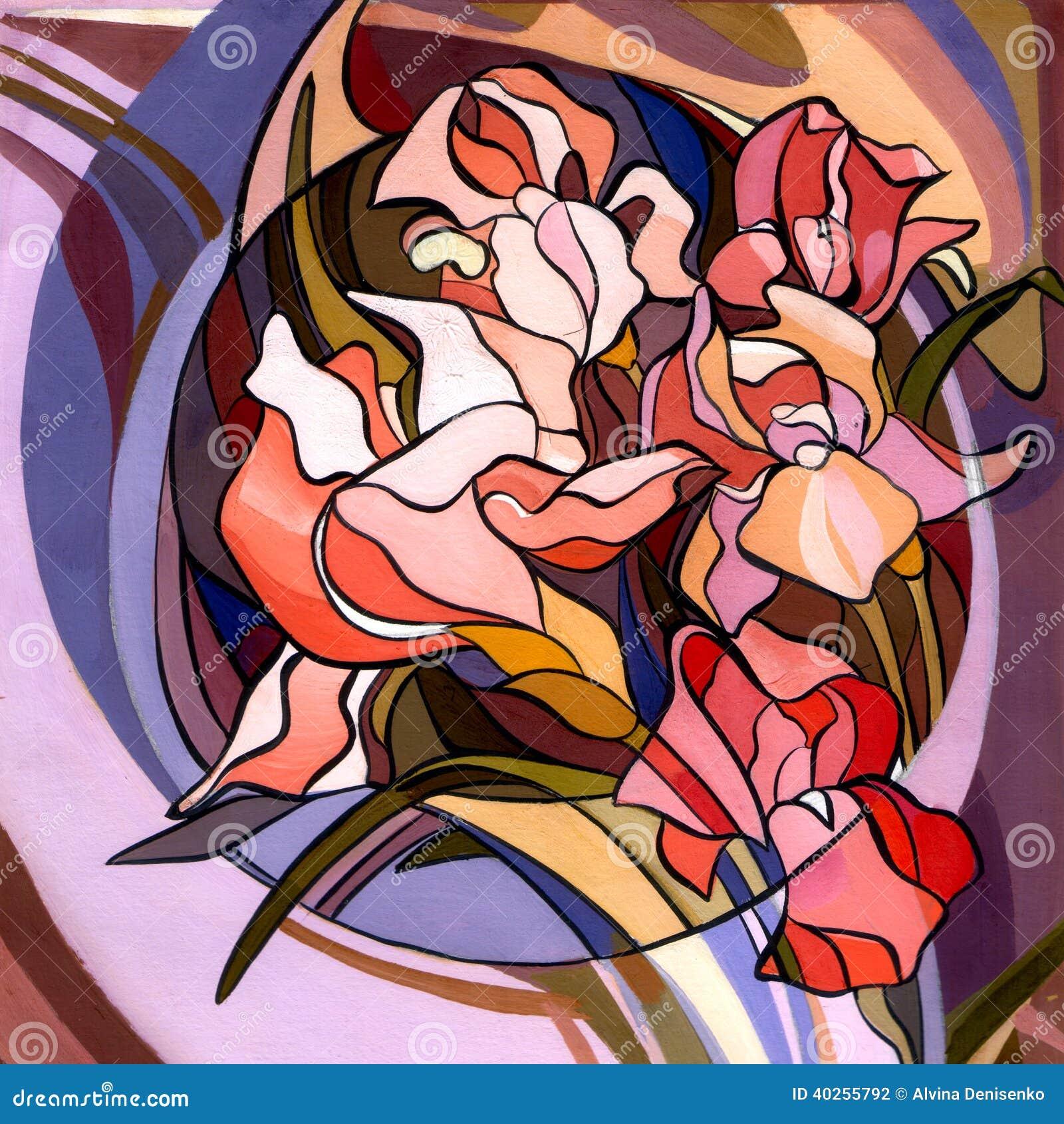 Illustration Colorée Des Fleurs Dans Le Style D\'Art Nouveau, Moderne ...