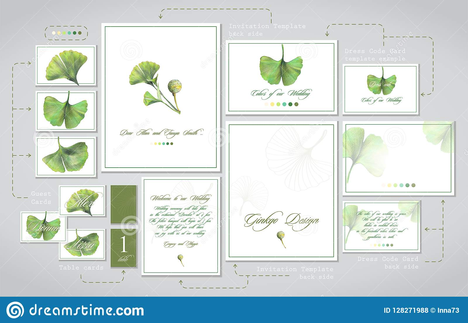 Set For Wedding Printing Invitations Cards For Guests
