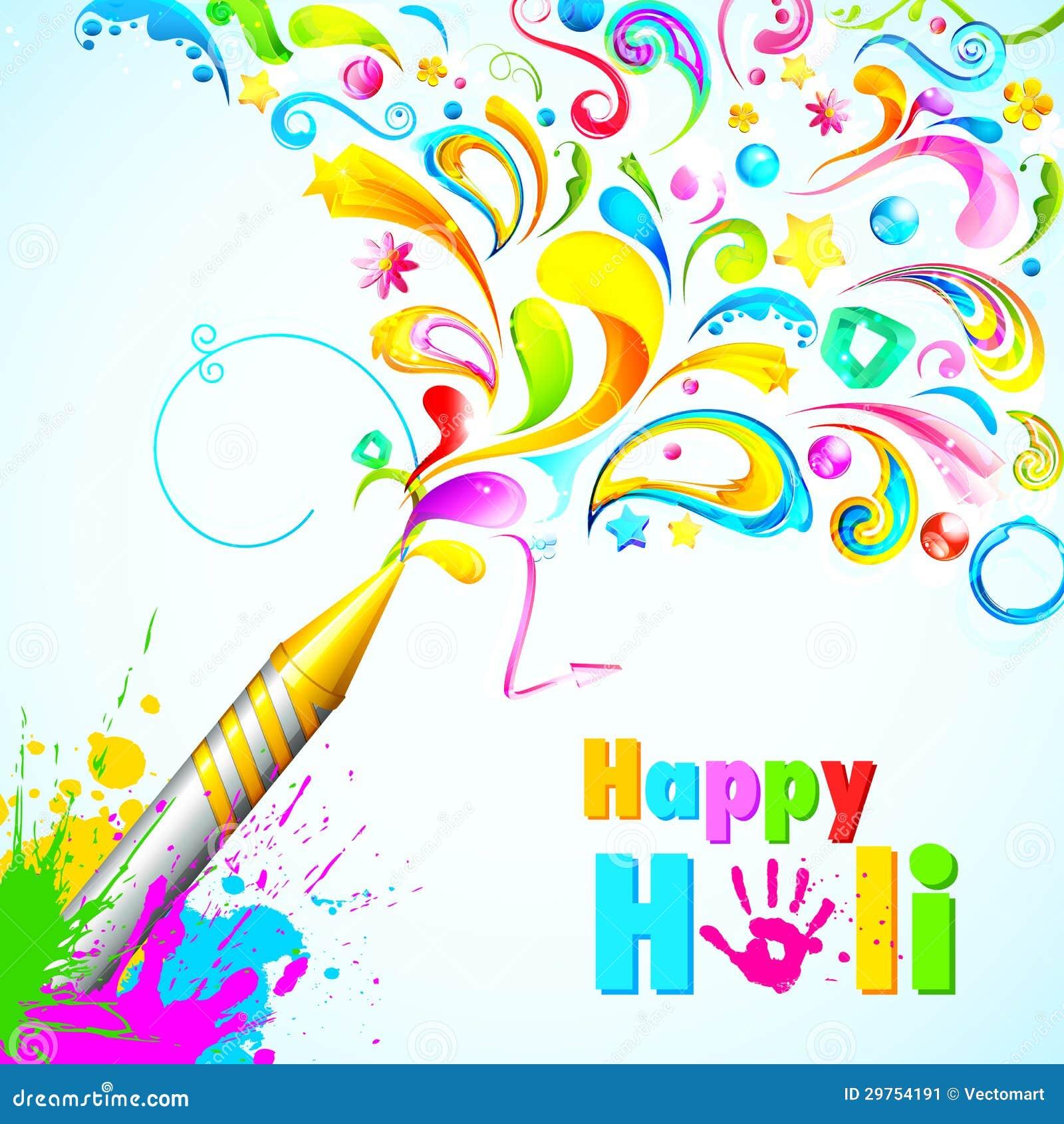 Illustration of colorful floral swirl around Holi pichkari.