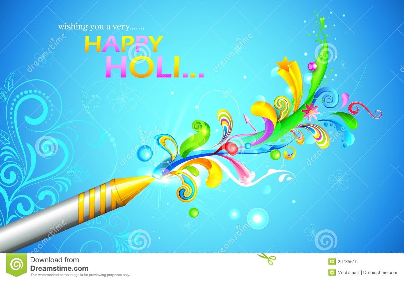 Illustration of colorful floral swirl around Holi pichkari.
