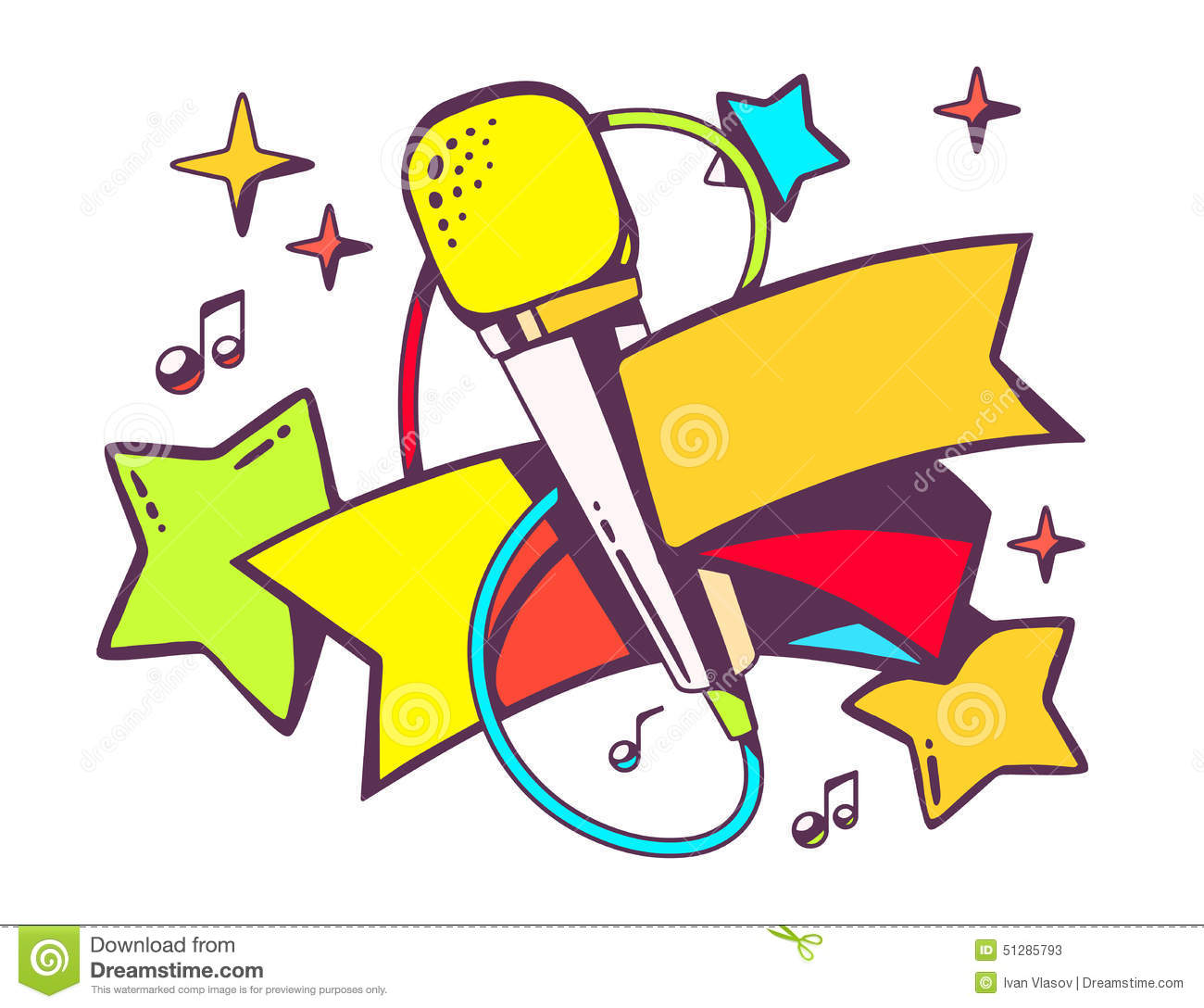 Colour Line Art Design : Illustration of colorful microphone with ribbon on white