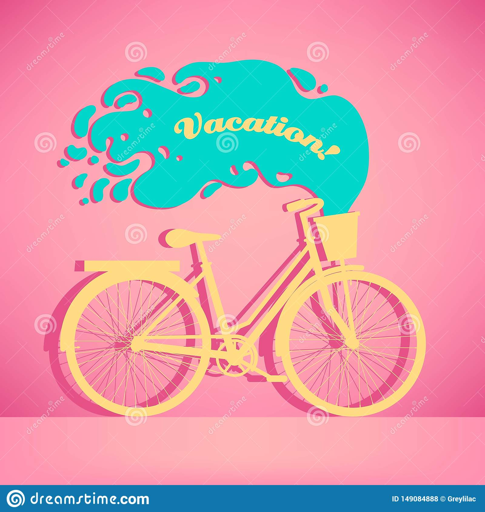 Illustration of colorful retro bicycle with basket