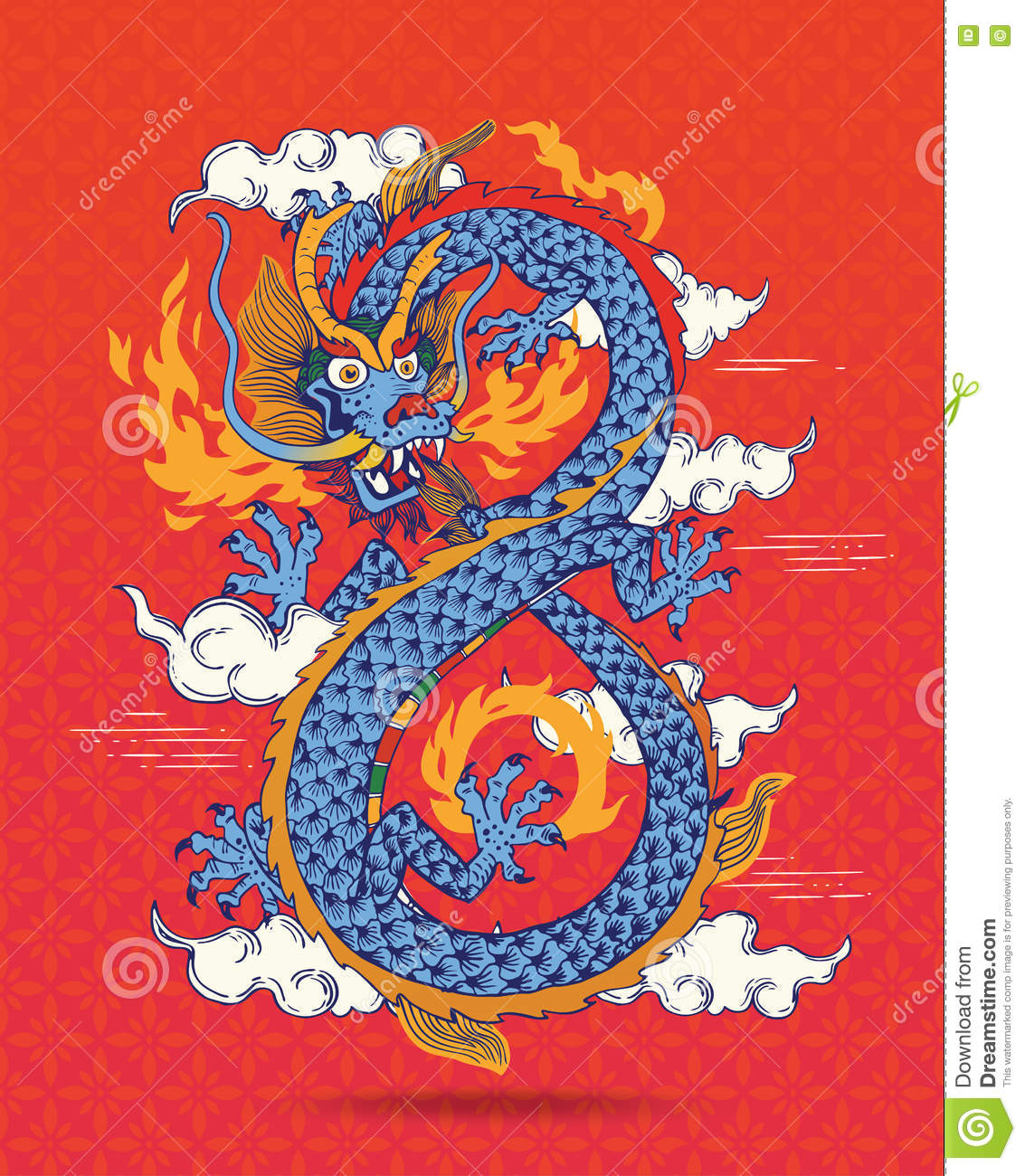 Illustration Of Colorful Traditional Chinese Dragon. Stock ...