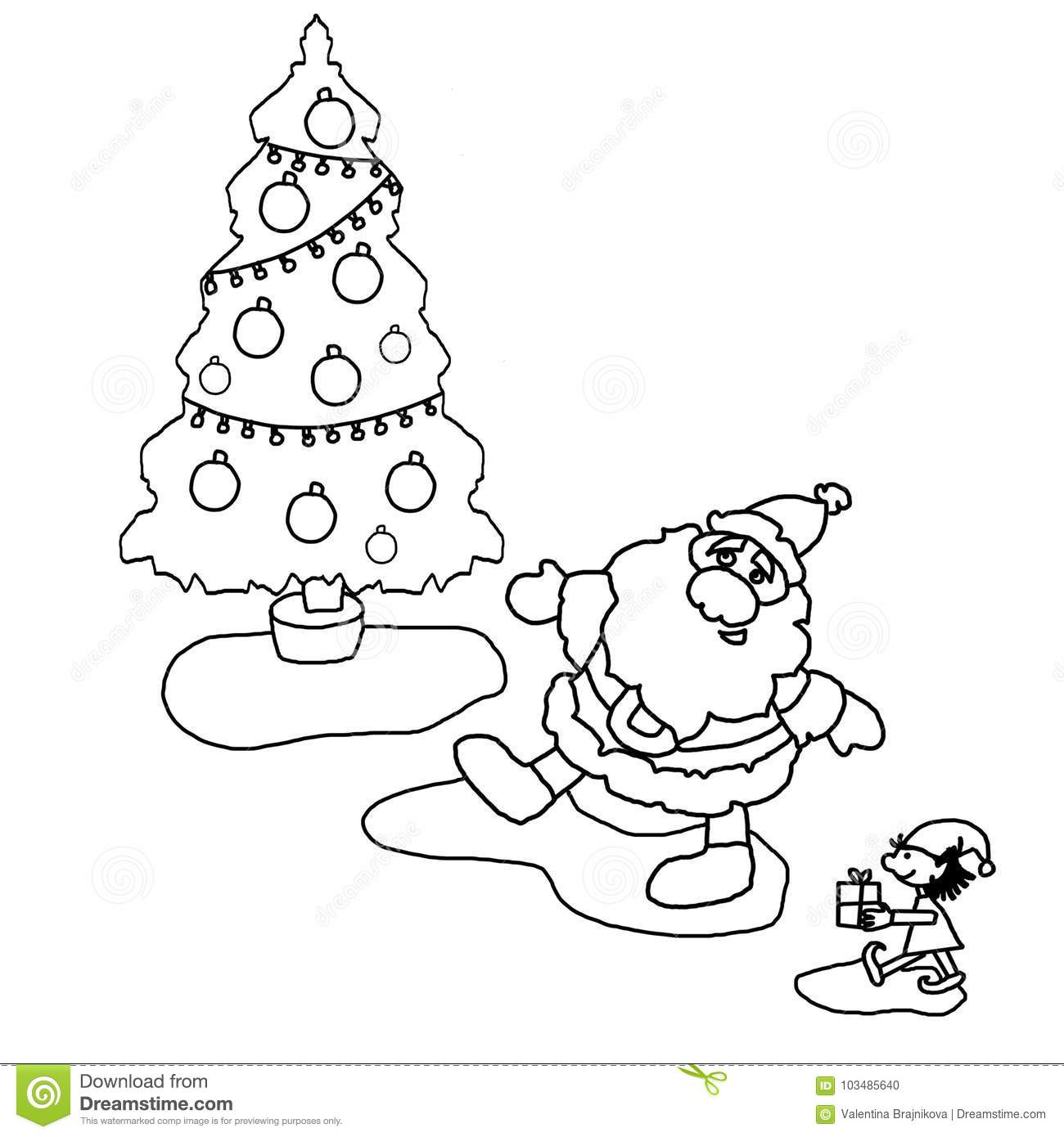 illustration coloring black and white christmas tree santa claus little helper