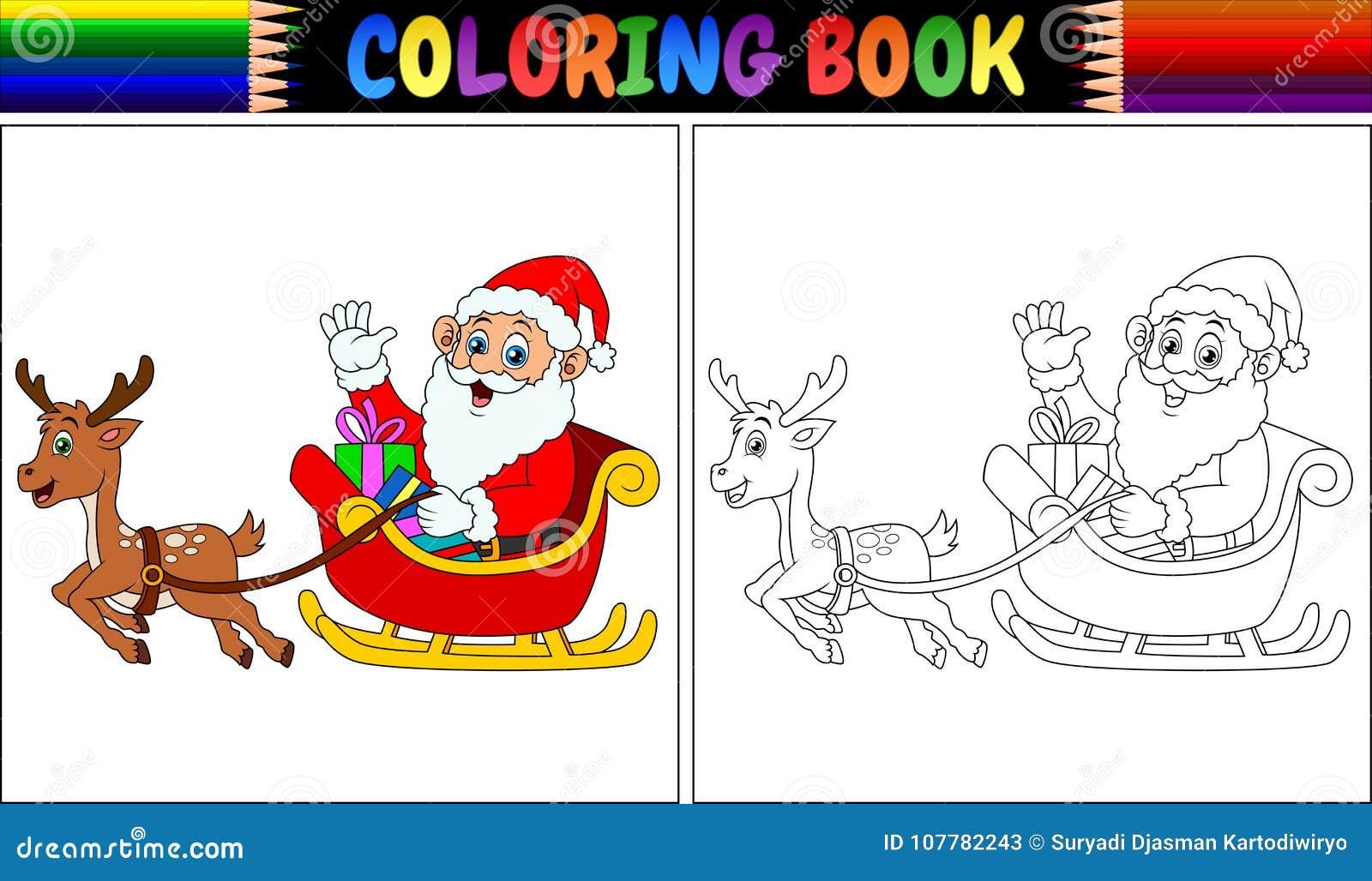 Coloring Book Cartoon Santa Claus Riding His Reindeer Sleigh Stock