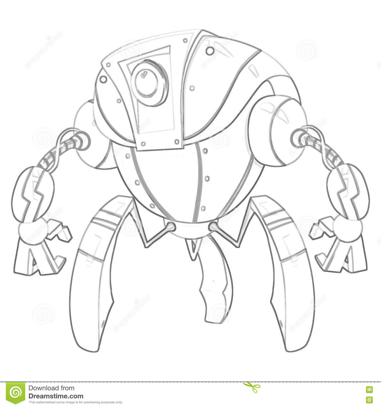 Illustration Coloring Book Series Robot Soft Thin Line Stock