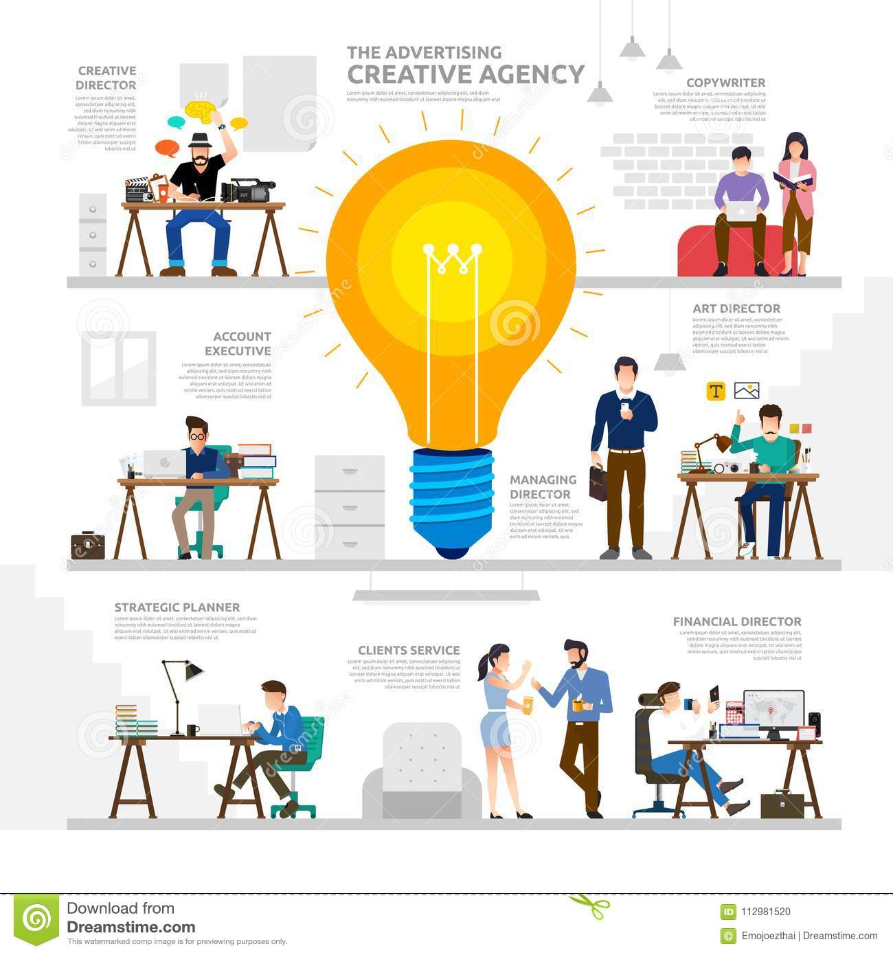Illustration concept advertising creative agency. Working group