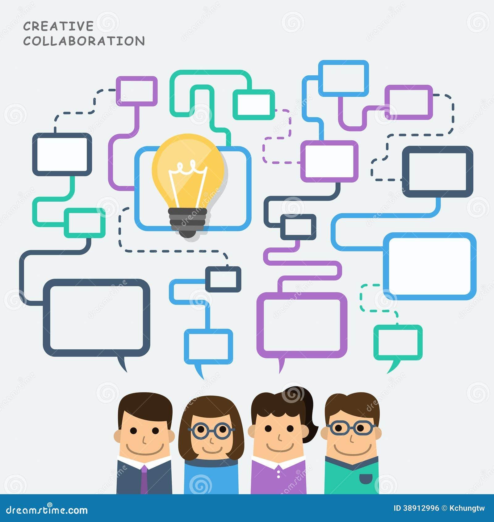 A Collaborative Design Group: Illustration Concept Of Creative Collaboration Stock