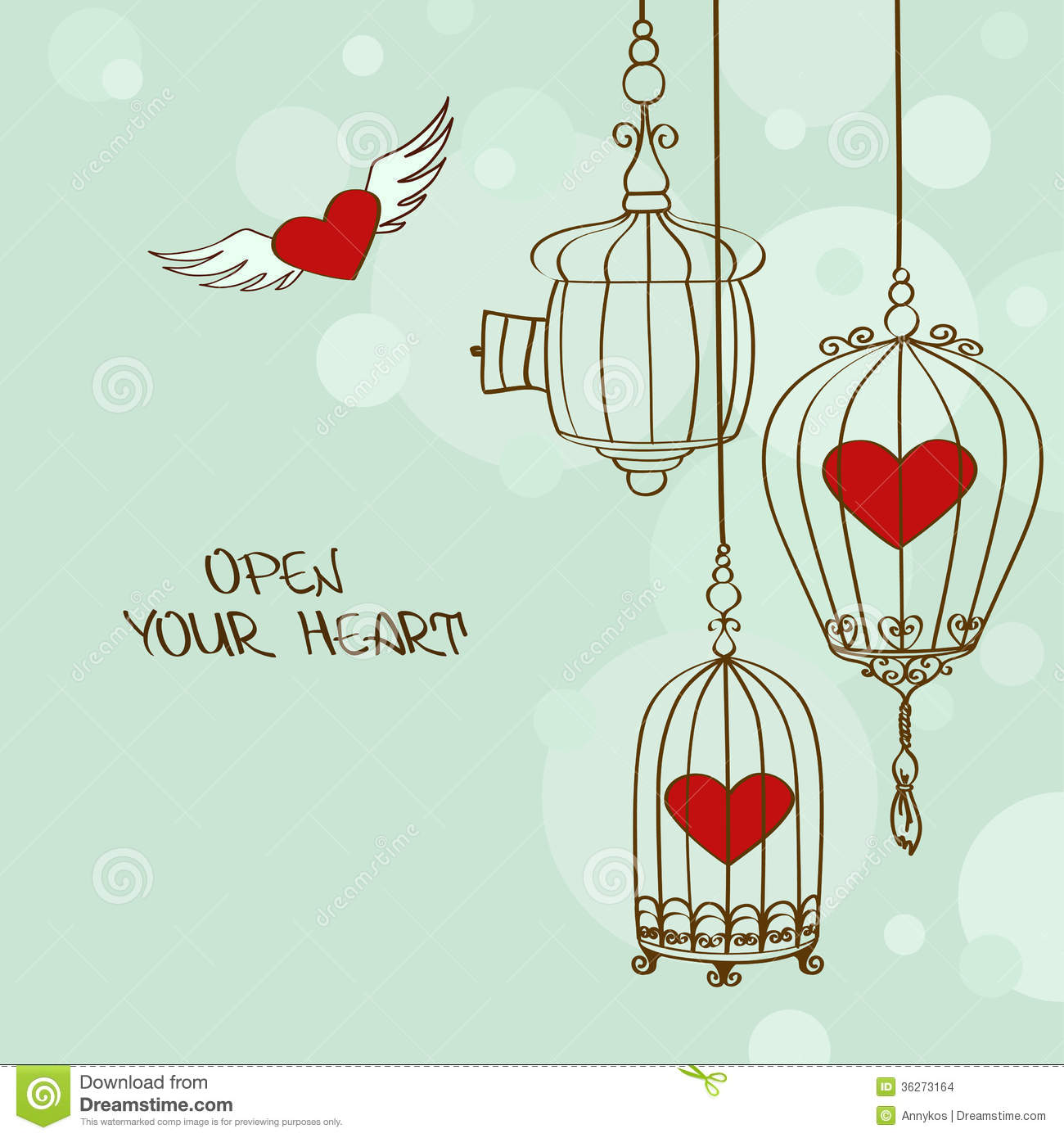 Illustration With Concept Hearts And Cages Stock Images