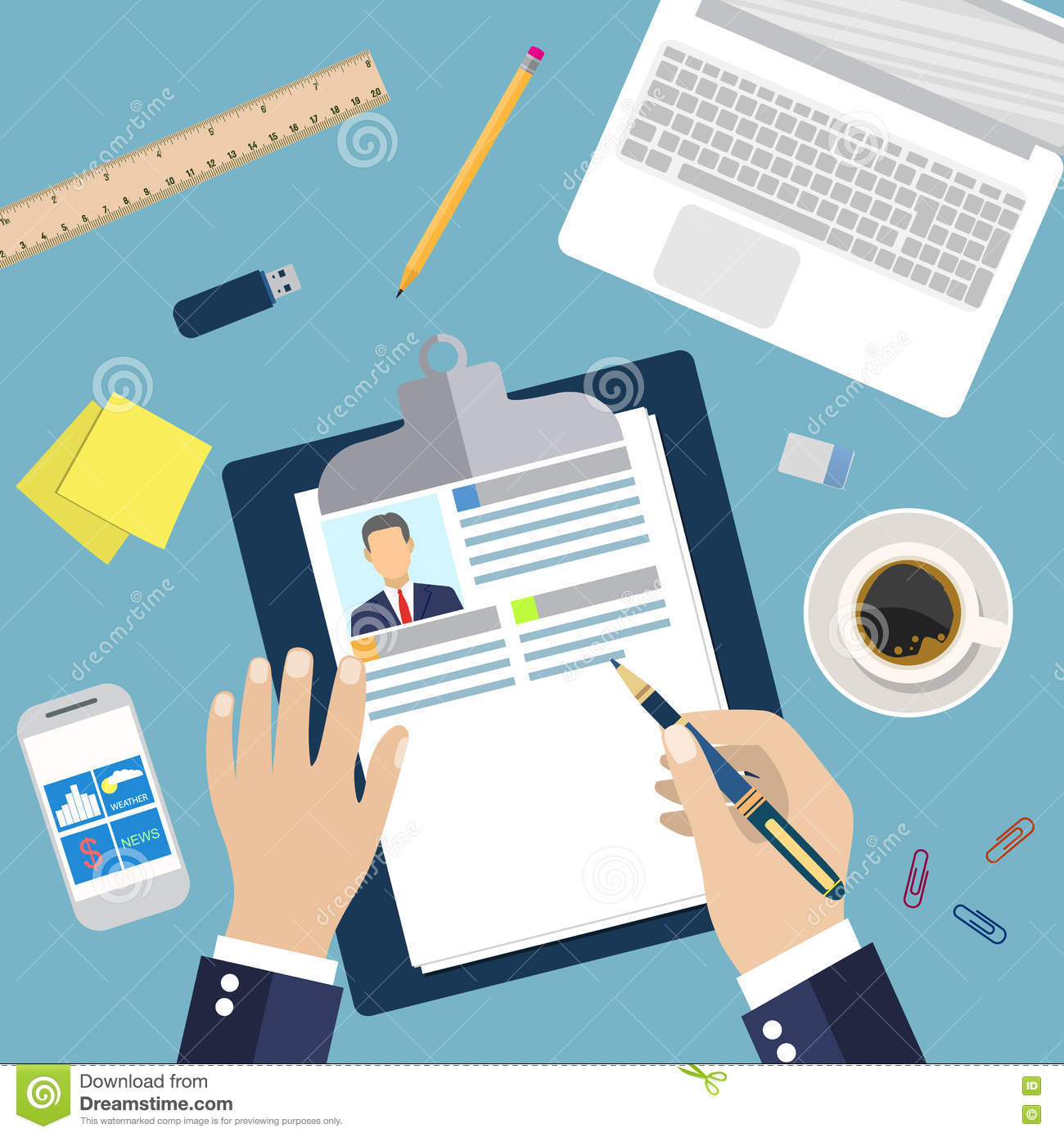illustration concept of resume writing stock vector illustration