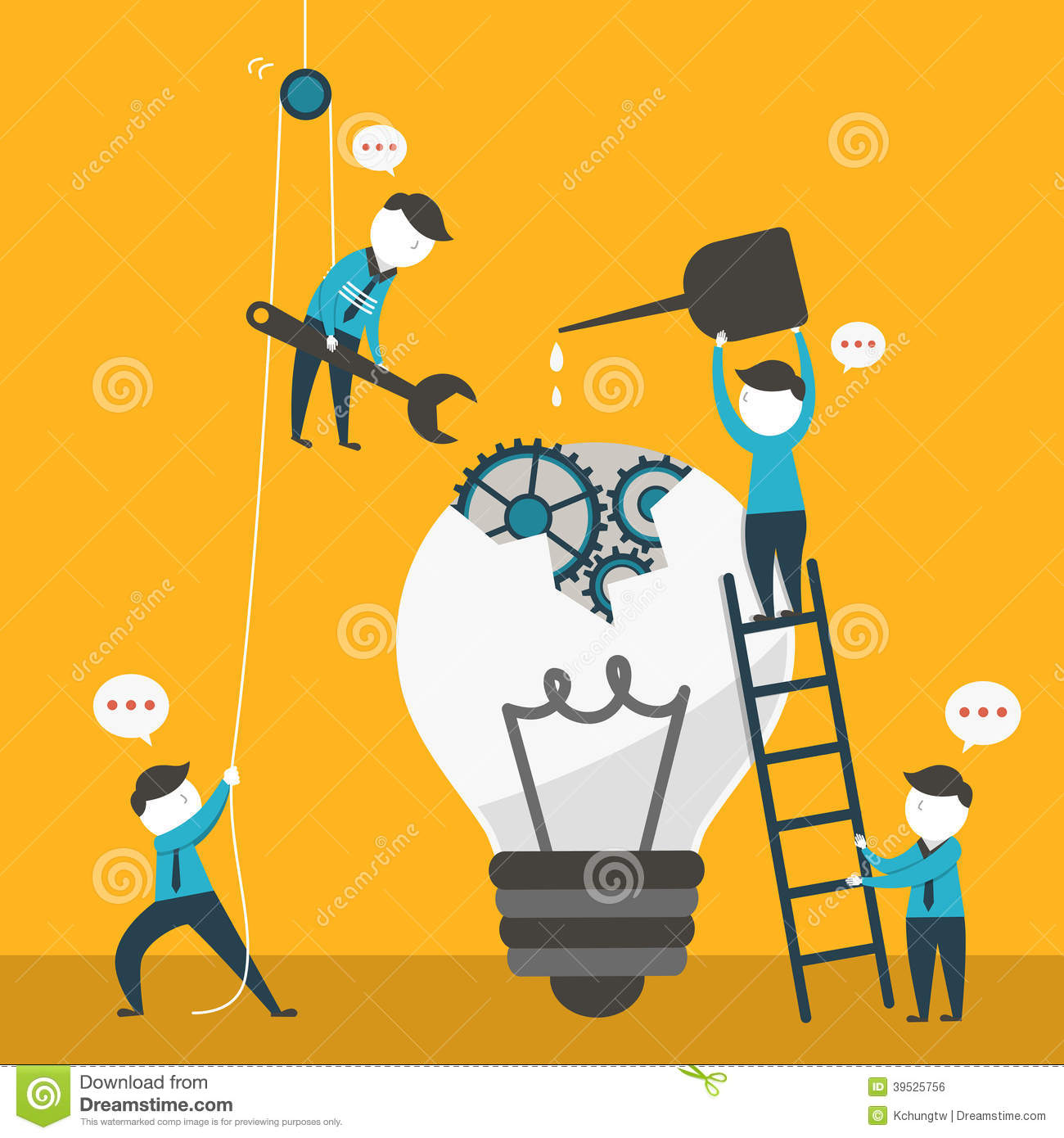Illustration Concept Of Team Work Stock Vector