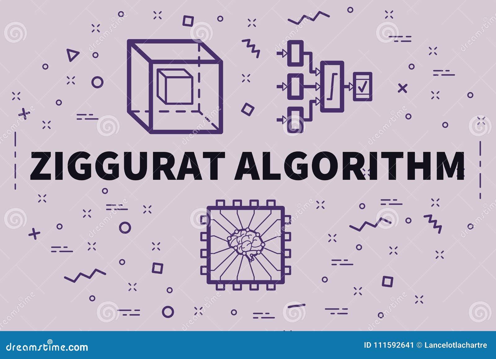 Illustration conceptuelle d affaires avec l algorit de ziggurat de mots