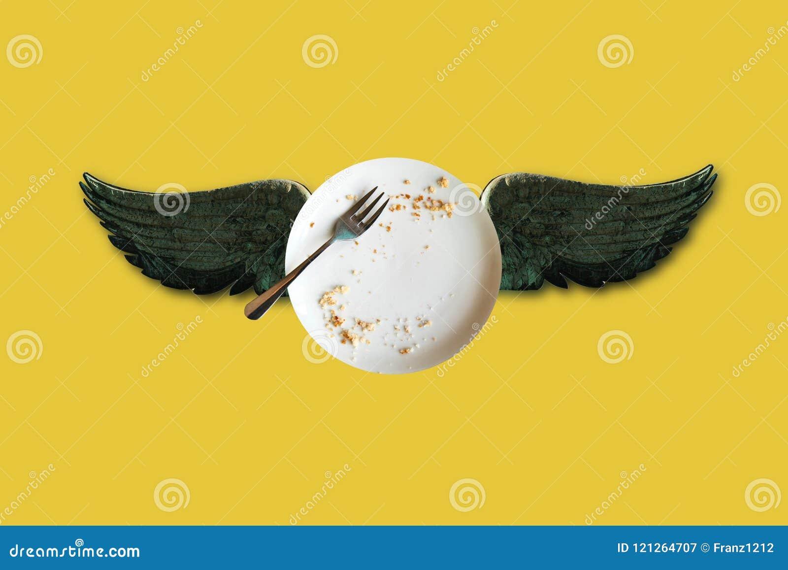 Illustration conceptuelle minimale d un plat vide avec des miettes et des ailes sur un fond jaune Mon idée, conception et art