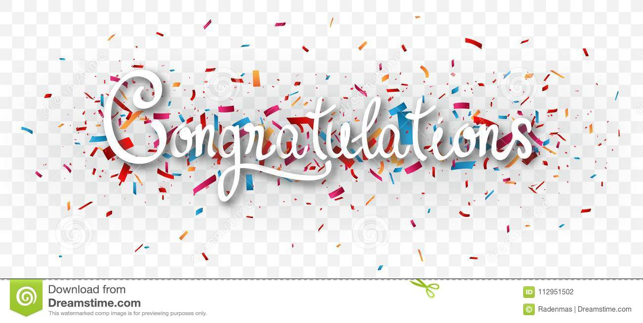 congratulations banner isolated on transparent background stock