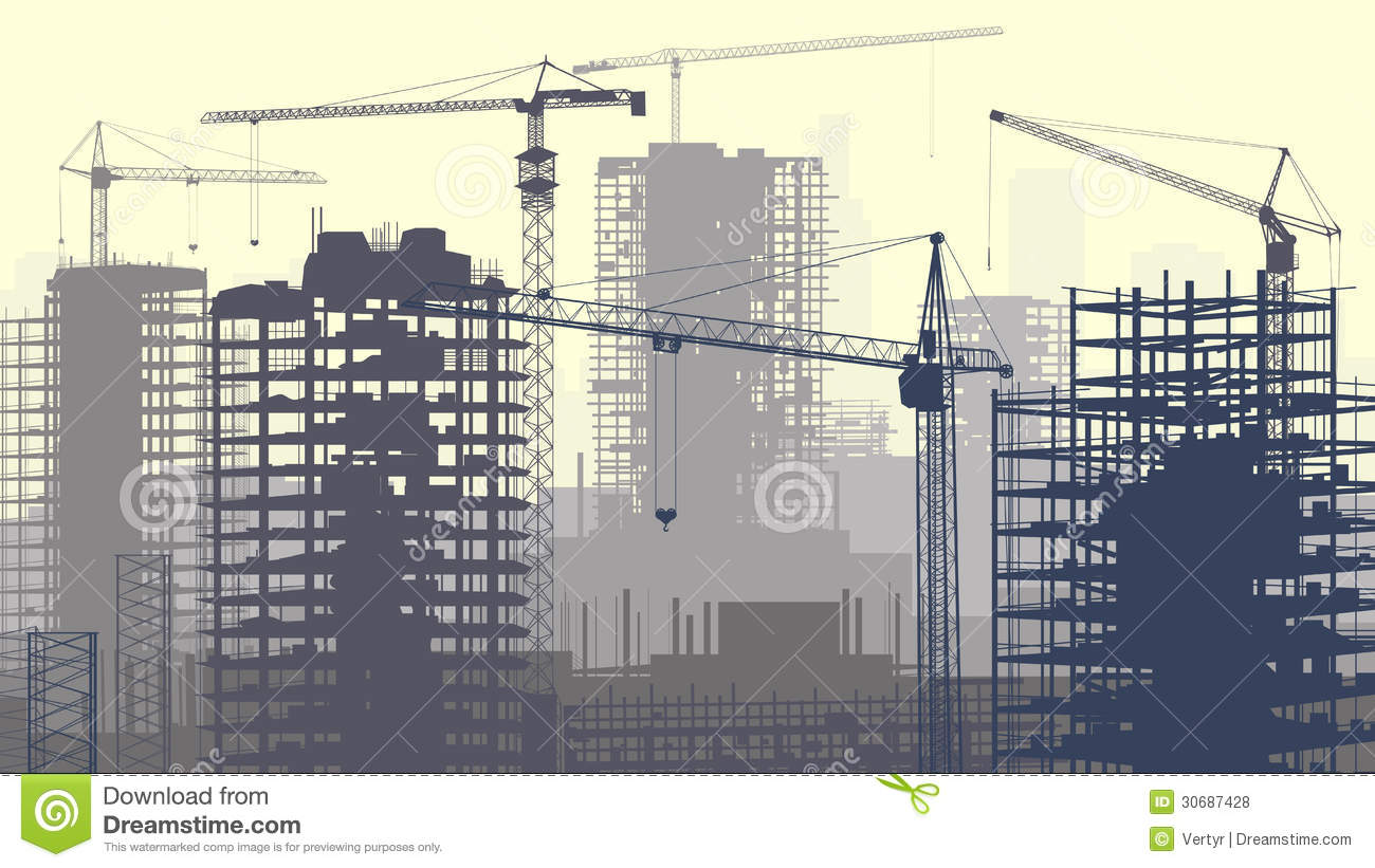 Illustration of construction site with cranes and building for Building construction