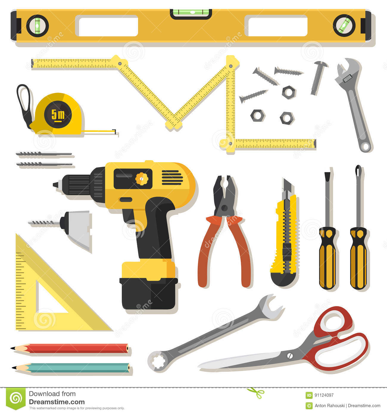 Illustration realistic set of building tools on flat for Building design tool