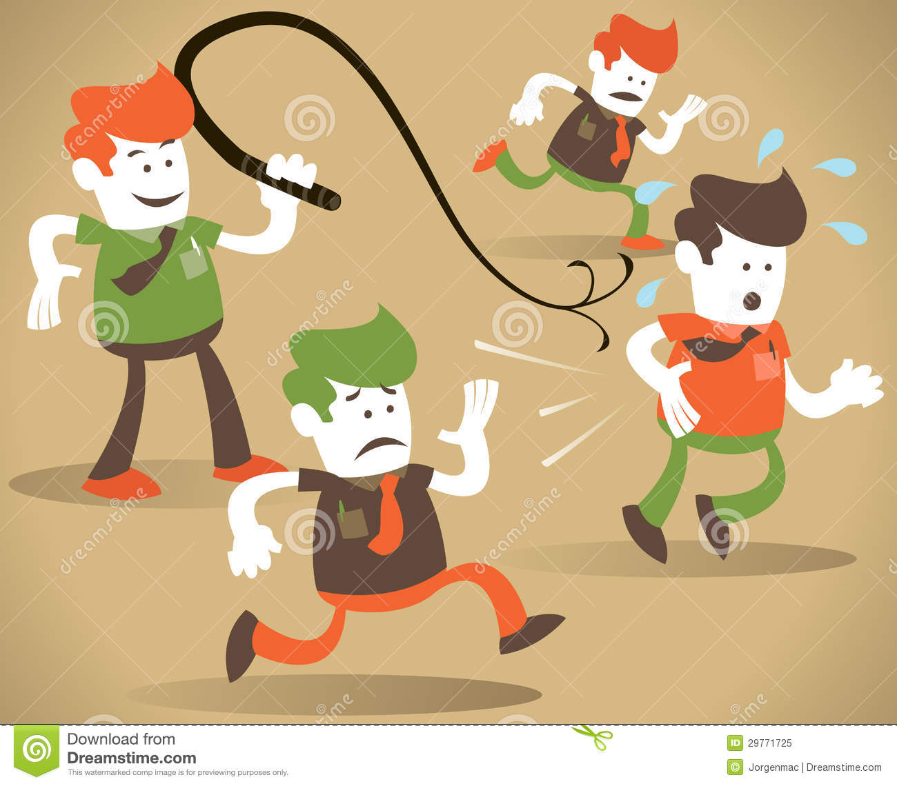 corporate guy cracks the whip stock vector illustration of vector