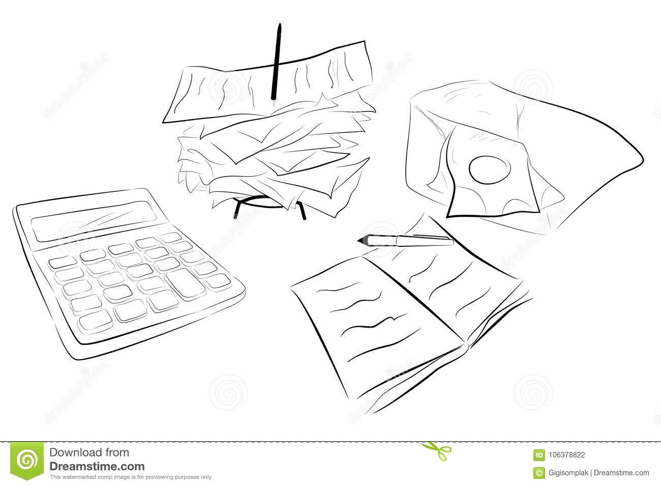 Illustration For Cost Control Calculator, Stack Of Payment Receipt ...
