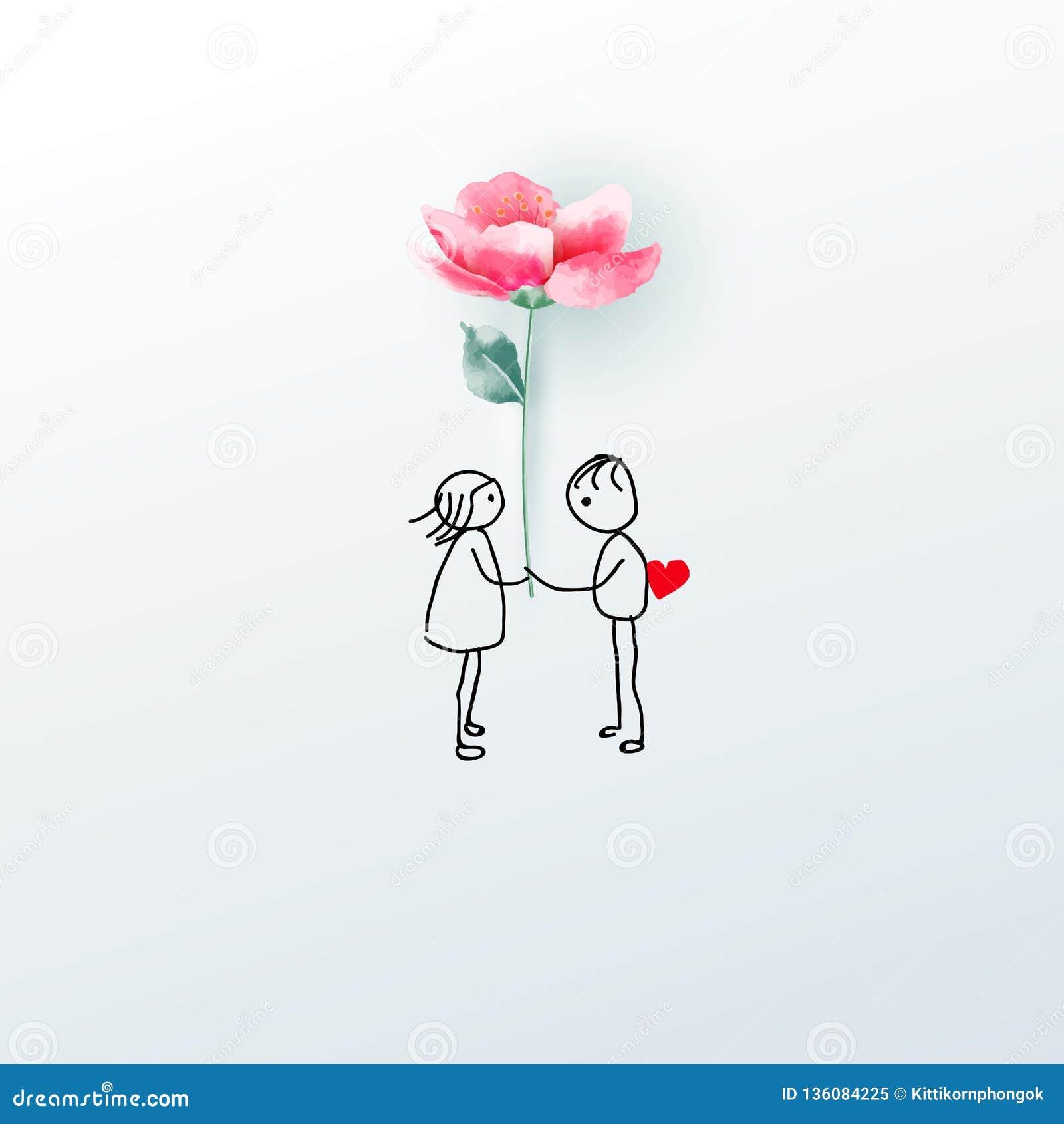 illustration couple d flower love concept valentine s day background vector wallpaper invitation poster 136084225