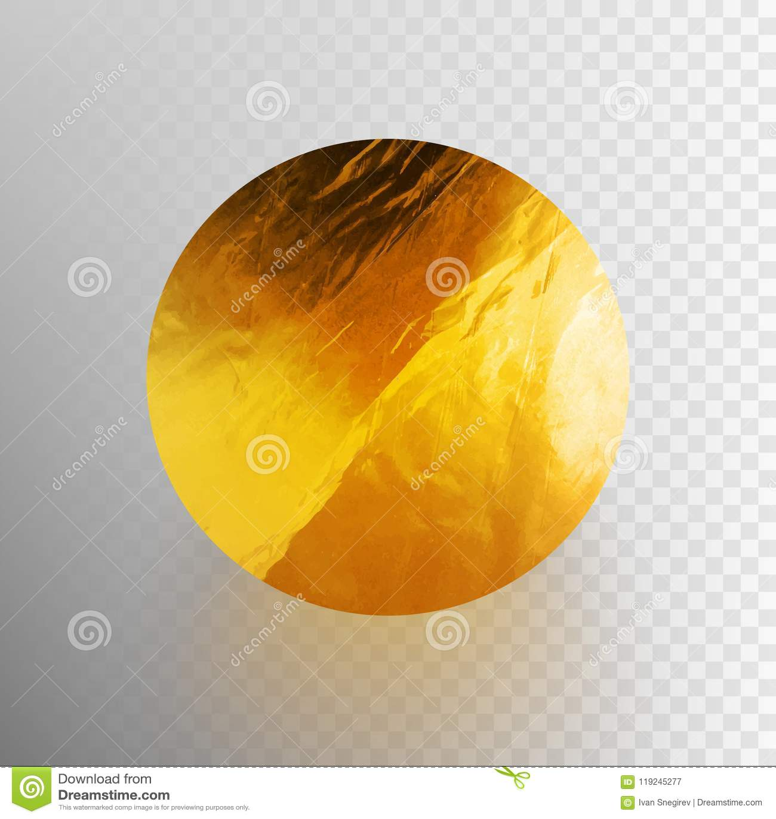 Illustration courante de vecteur brillante, cercle scintillant de feuille d or Texture de feuille métallique d isolement sur un f