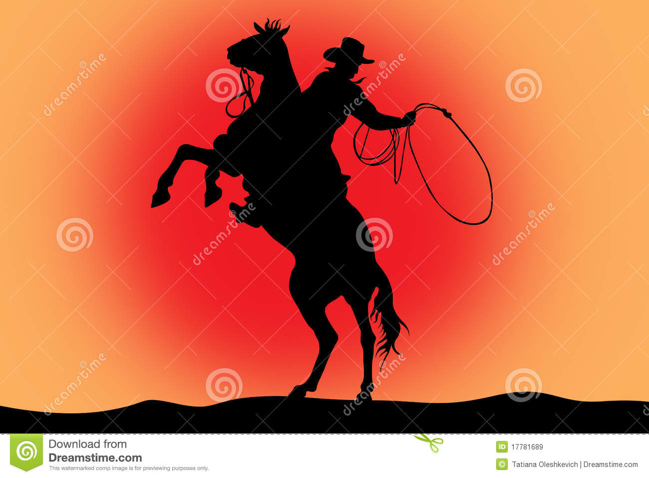 illustration of cowboy on a horse with lasso stock