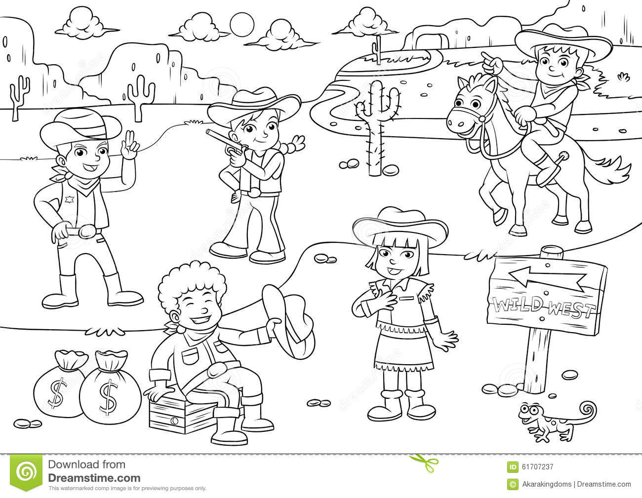 Derechos Y Obligaciones De Los Ninos Dibujos Para Colorear: Illustration Of Cowboy Wild West Child Cartoon For